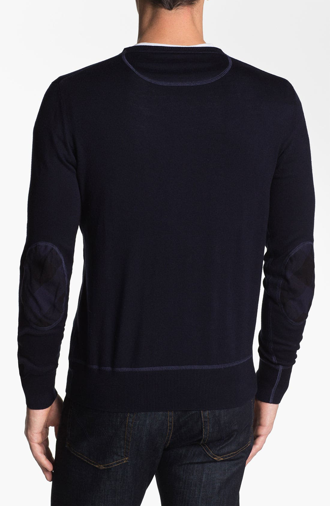Alternate Image 2  - Burberry Brit Elbow Patch Cotton Sweater
