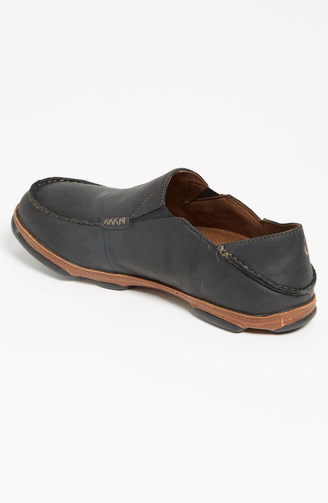 'Moloa' Slip-On,                             Alternate thumbnail 2, color,                             Black/ Toffee Leather