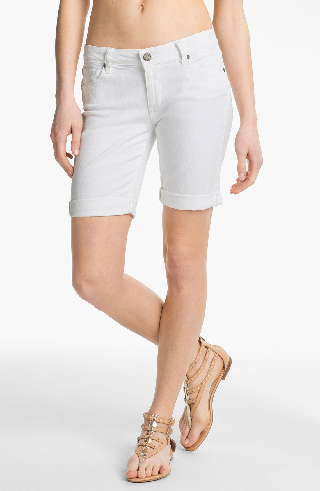 Main Image - Paige Denim 'Jax' Stretch Denim Bermuda Shorts (Optic White)