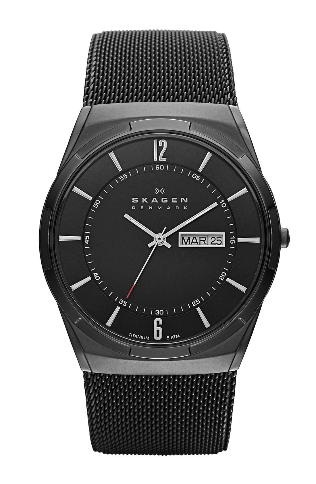 'Melbye' Titanium Round Mesh Strap Watch, 40mm,                         Main,                         color, Black