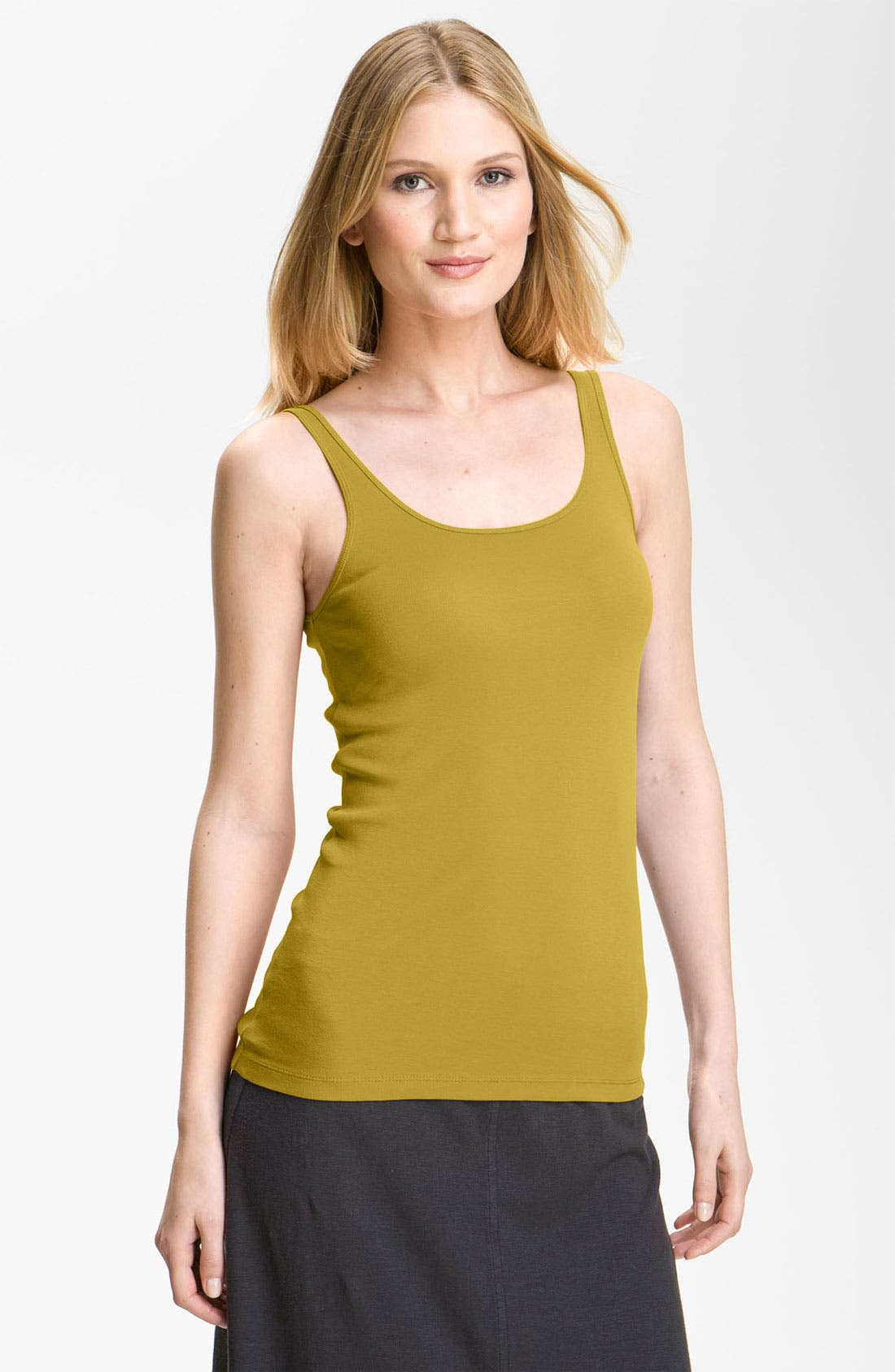 Alternate Image 1 Selected - Eileen Fisher Long Organic Cotton Tank (Regular & Petite) (Online Only)