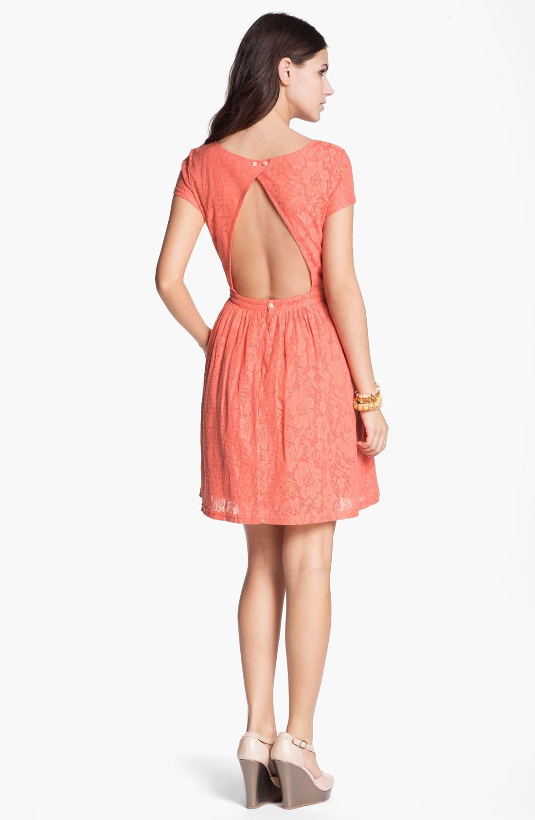 Alternate Image 2  - Frenchi Cutout Back Lace Dress (Juniors)