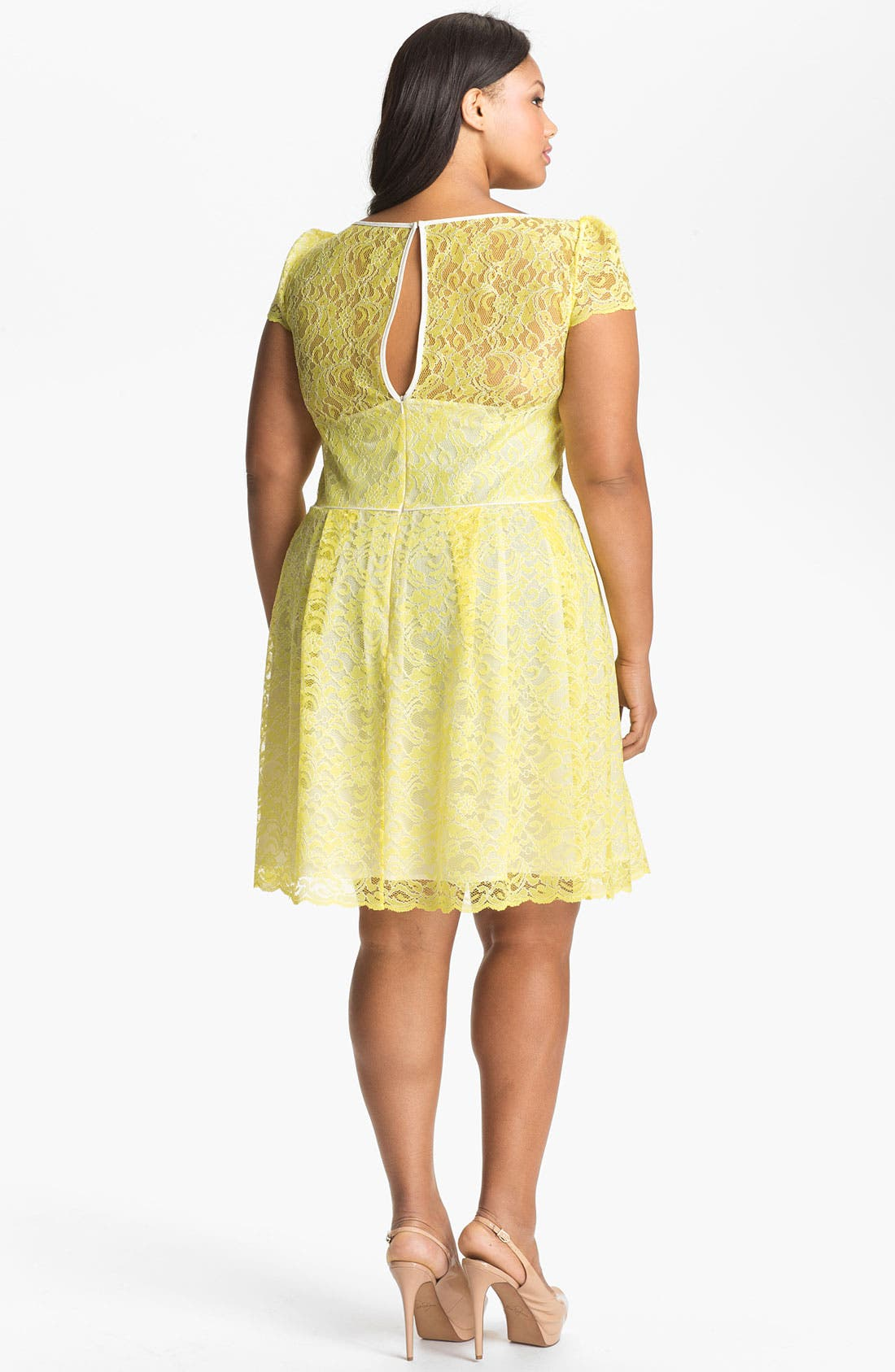 Alternate Image 2  - A.B.S. by Allen Schwartz Lace Fit & Flare Dress (Plus Size) (Online Only)