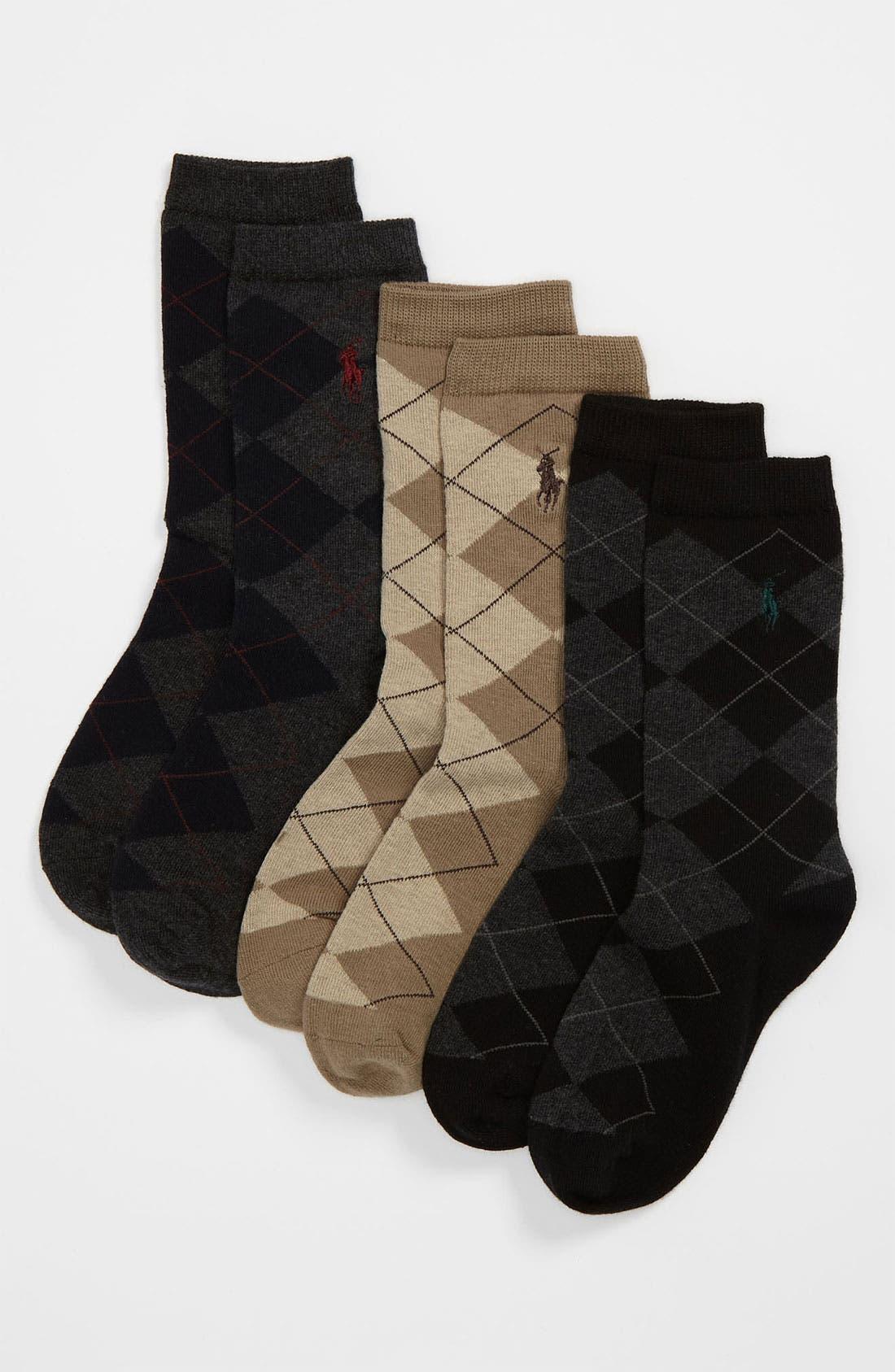 Alternate Image 1 Selected - Polo Ralph Lauren Argyle Crew Socks (3-Pack) (Toddler)