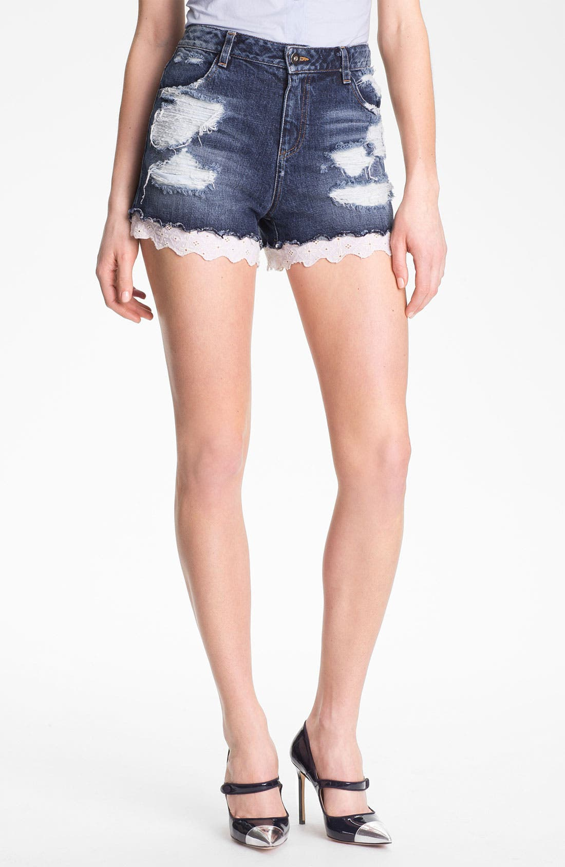Alternate Image 1 Selected - Man Repeller X PJK Destroyed Stretch Denim Shorts
