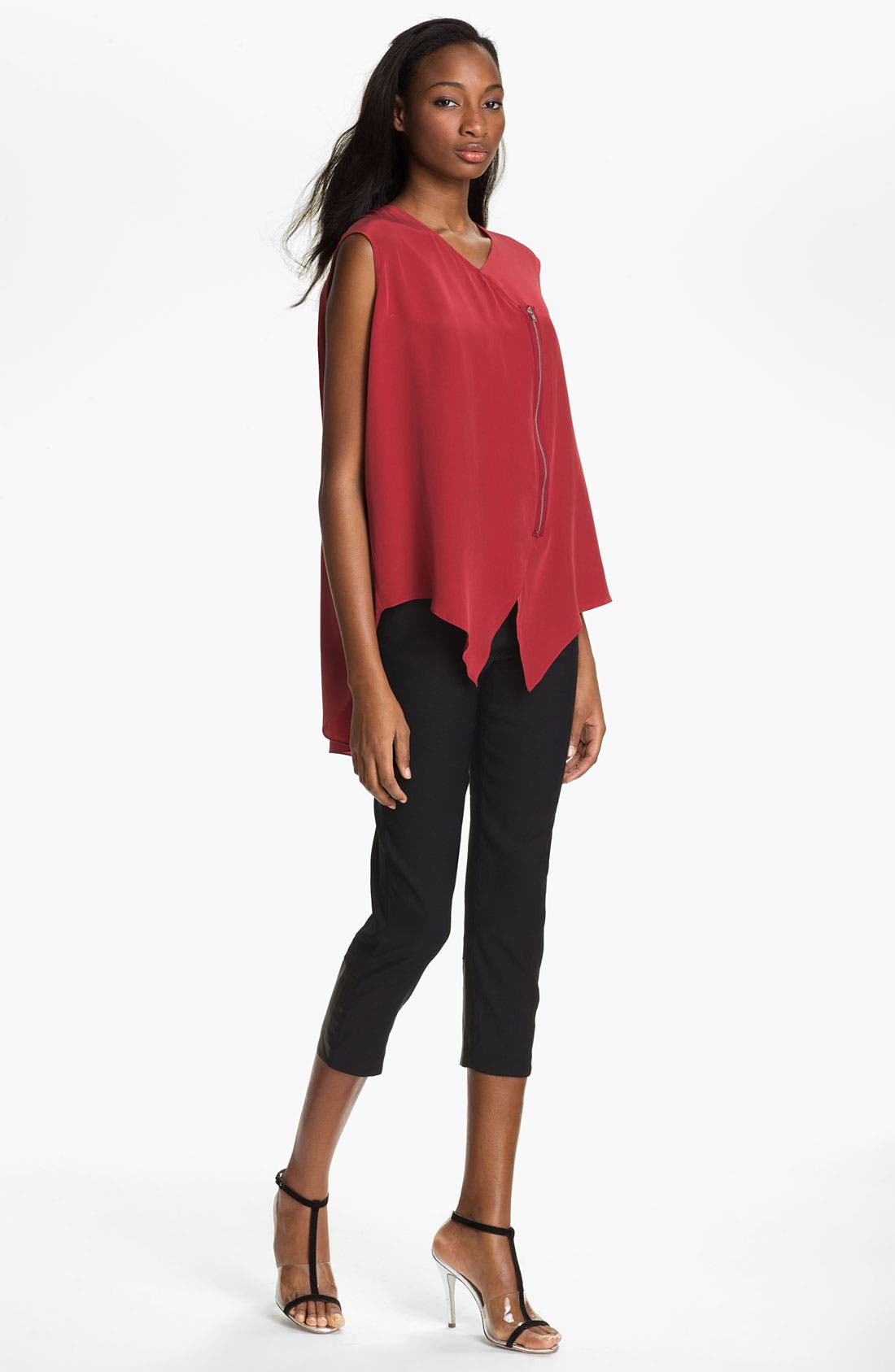Alternate Image 2  - Tracy Reese Zip Front Silk Blouse