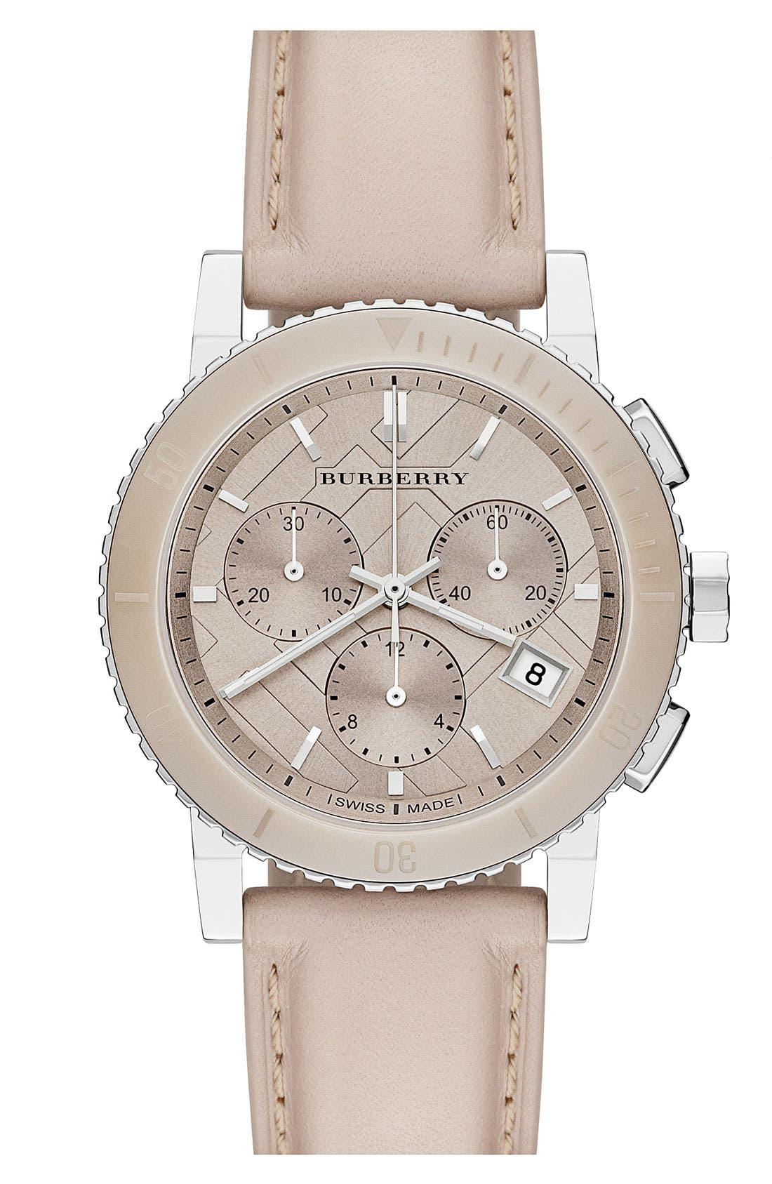 Alternate Image 1 Selected - Burberry Check Stamped Chronograph Watch, 38mm