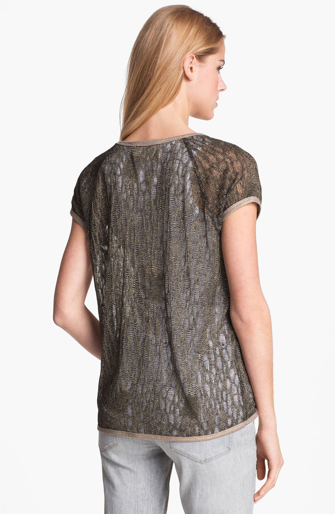 Alternate Image 2  - Two by Vince Camuto Metallic Open Knit Tee