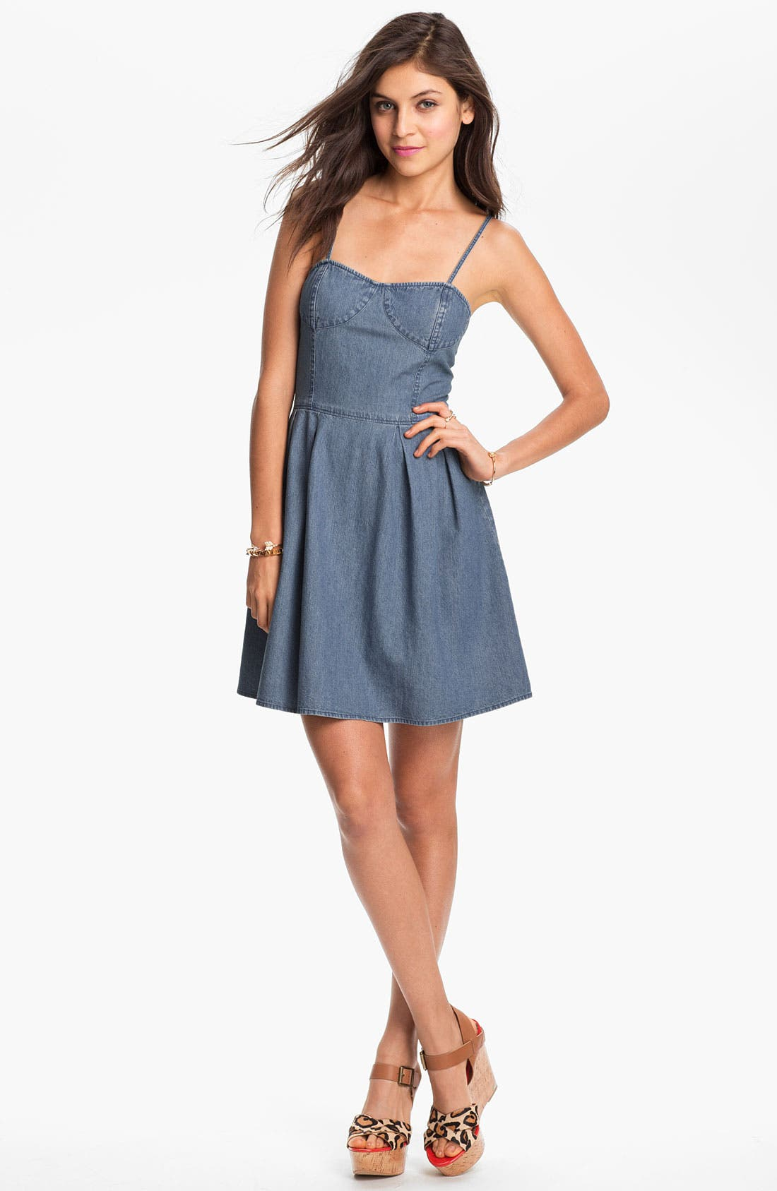 Alternate Image 1 Selected - Frenchi® Chambray Bustier Dress (Juniors)