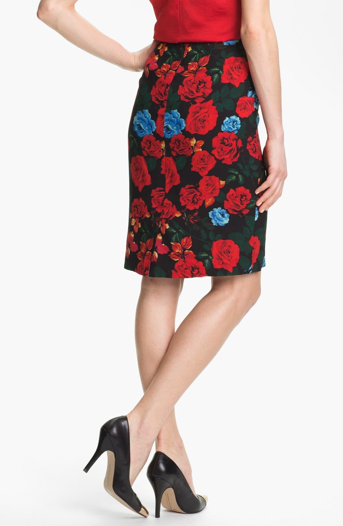 Alternate Image 2  - Vince Camuto Rose Print Pencil Skirt