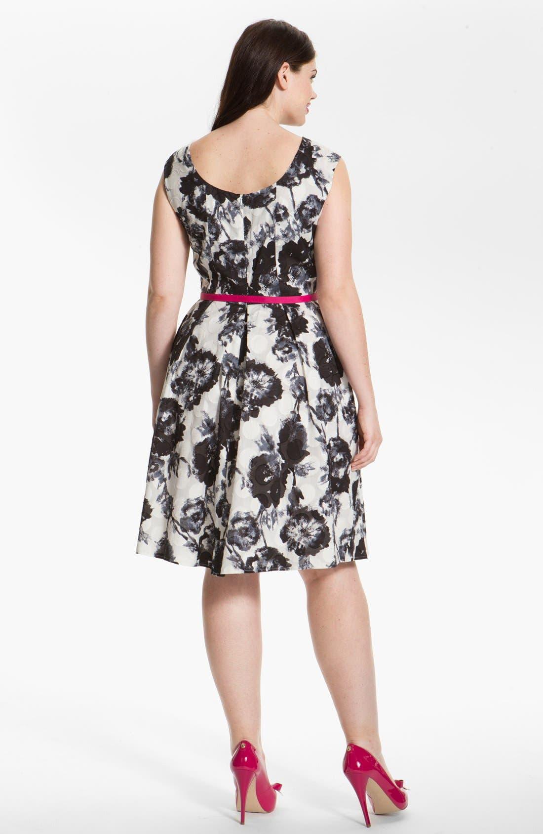 Alternate Image 2  - Donna Ricco Floral Print Fit & Flare Dress (Plus Size)