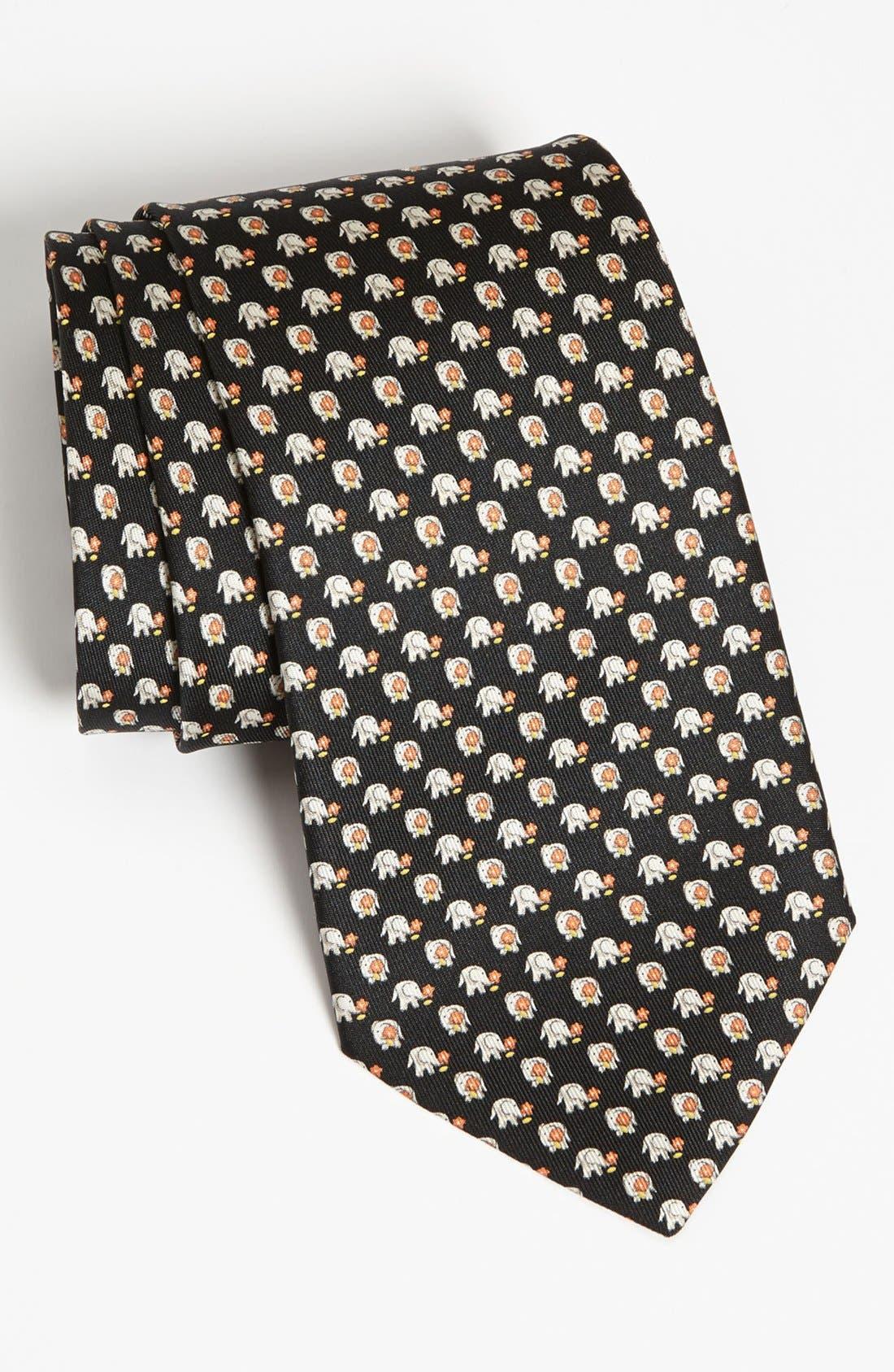 Main Image - Salvatore Ferragamo Elephant Print Silk Tie