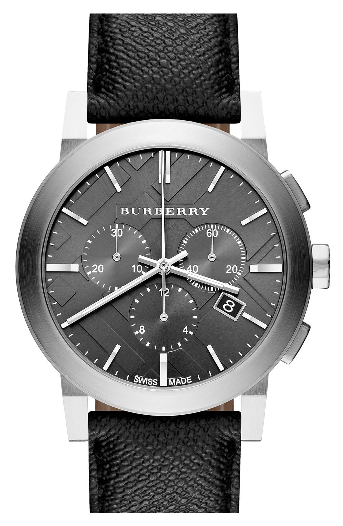 Alternate Image 1 Selected - Burberry Check Stamped Round Chronograph Watch, 42mm