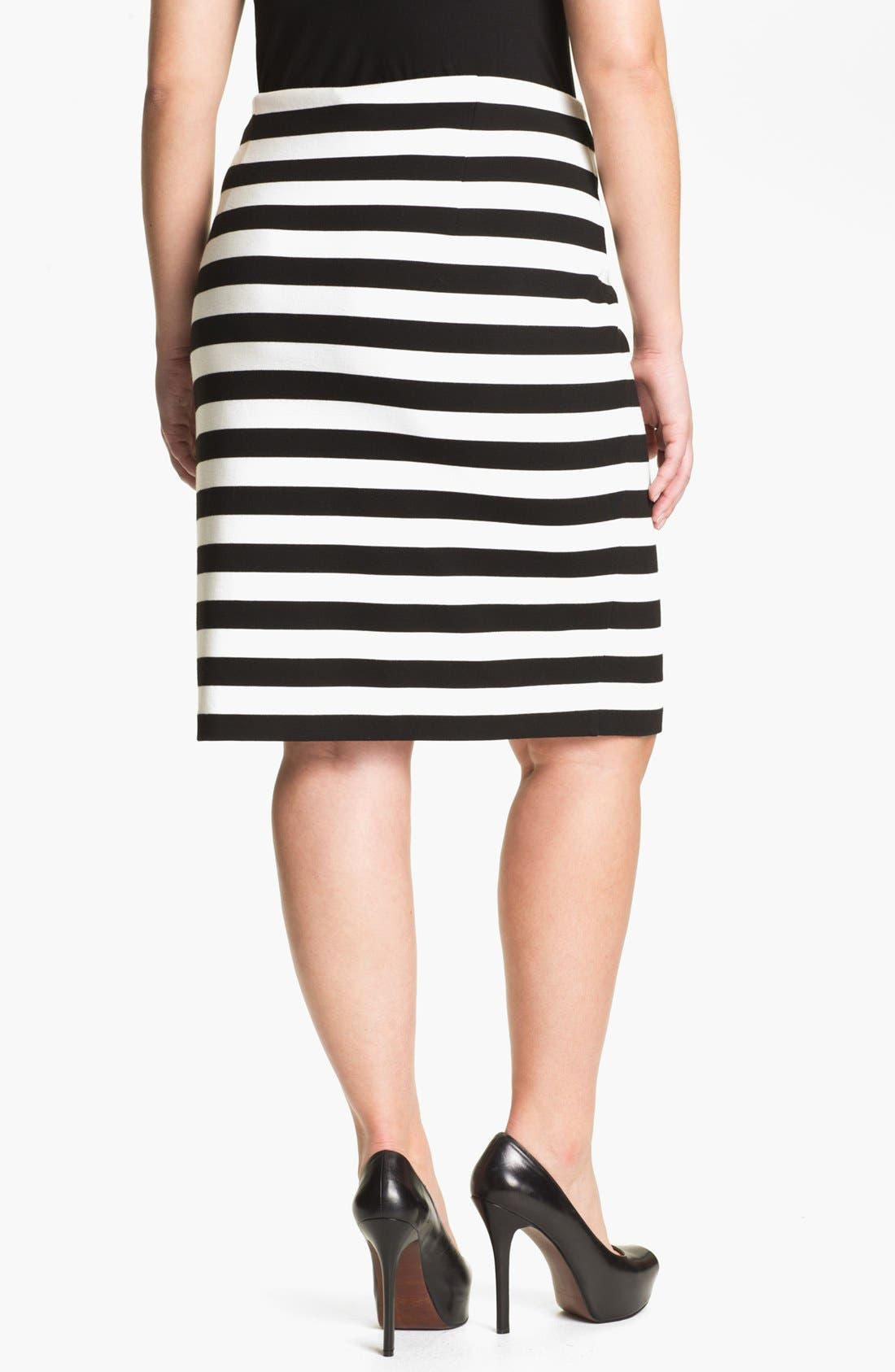 Alternate Image 2  - Vince Camuto Stripe Pencil Skirt (Plus Size)