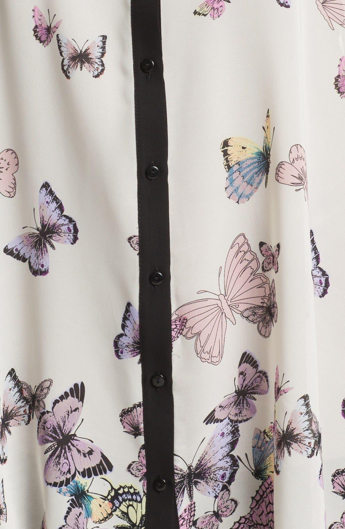 Alternate Image 3  - Evans Butterfly Print Shirt (Plus Size)