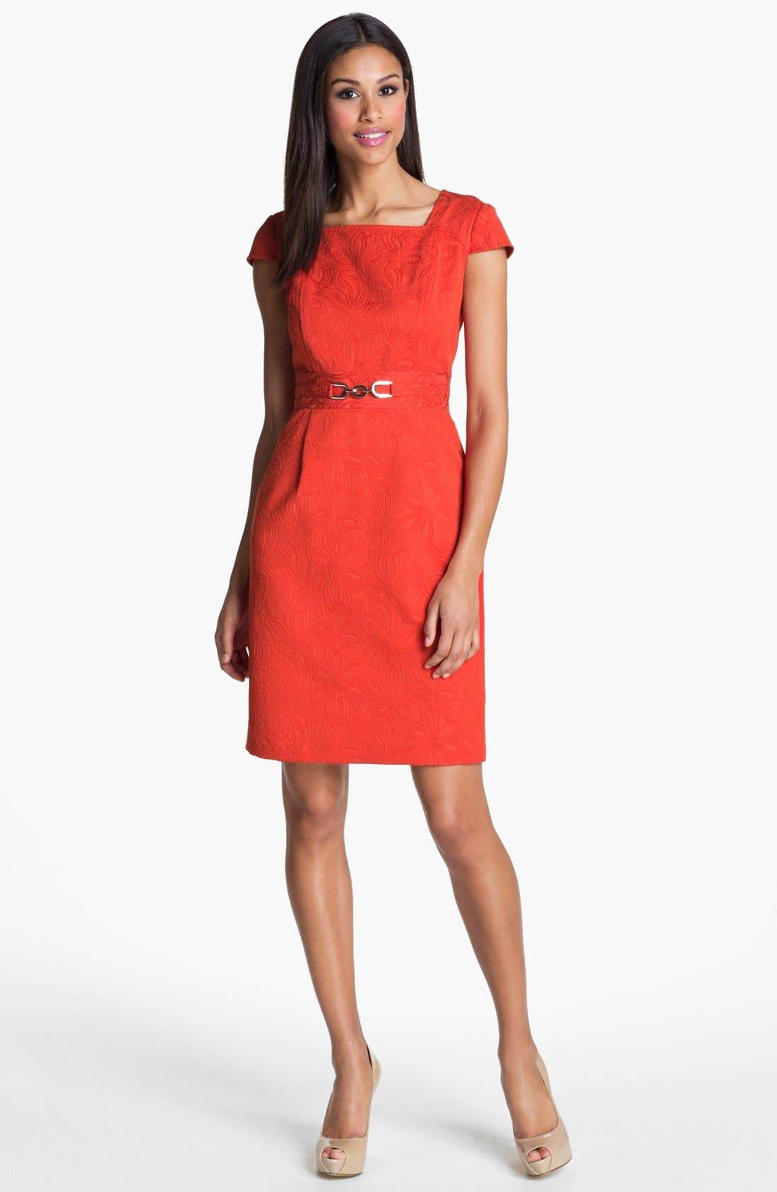 Main Image - Adrianna Papell Floral Jacquard Sheath Dress