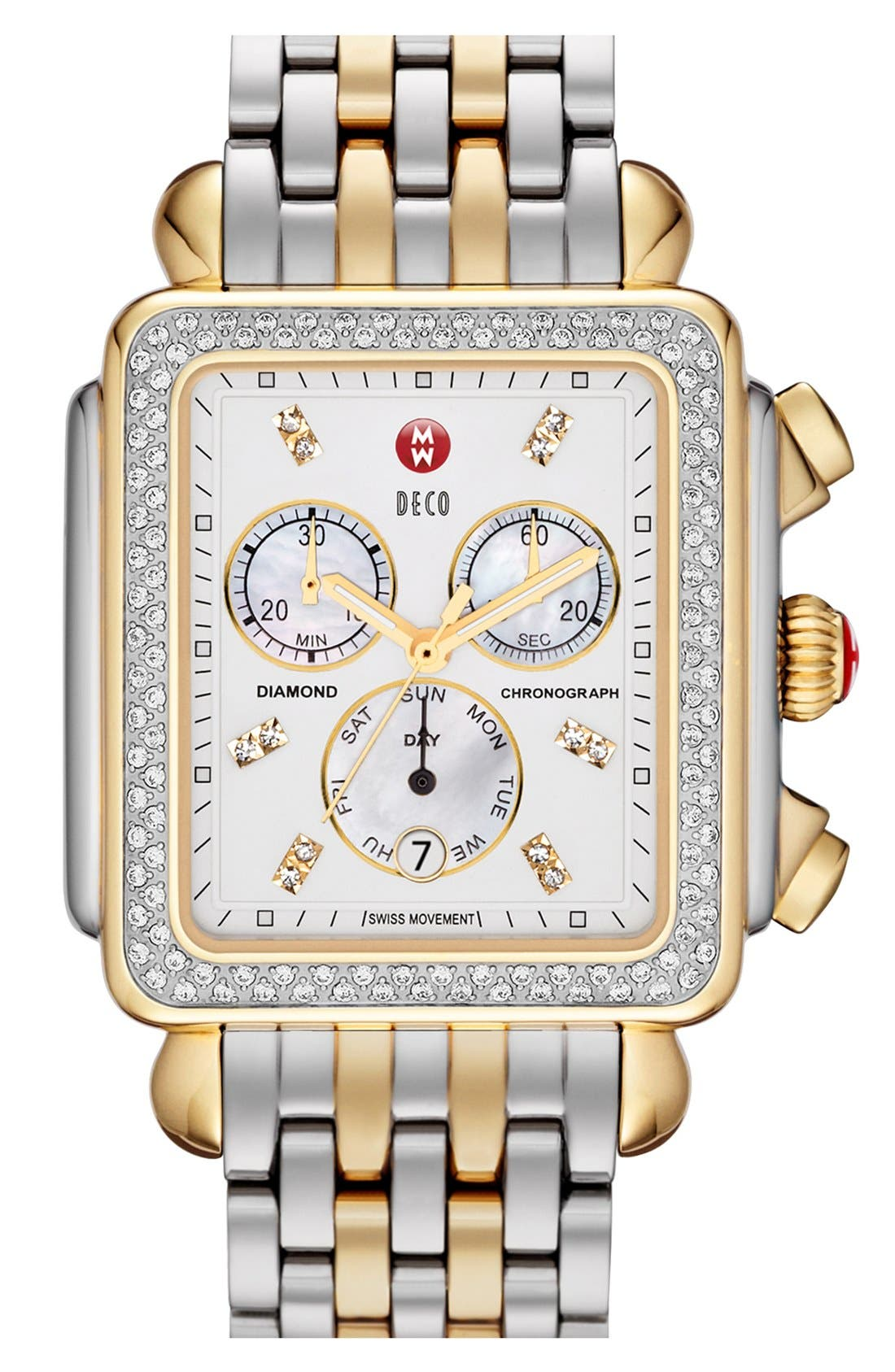 Alternate Image 2  - MICHELE 'Deco XL Diamond' Diamond Dial Two-Tone Watch Case, 37mm x 38mm