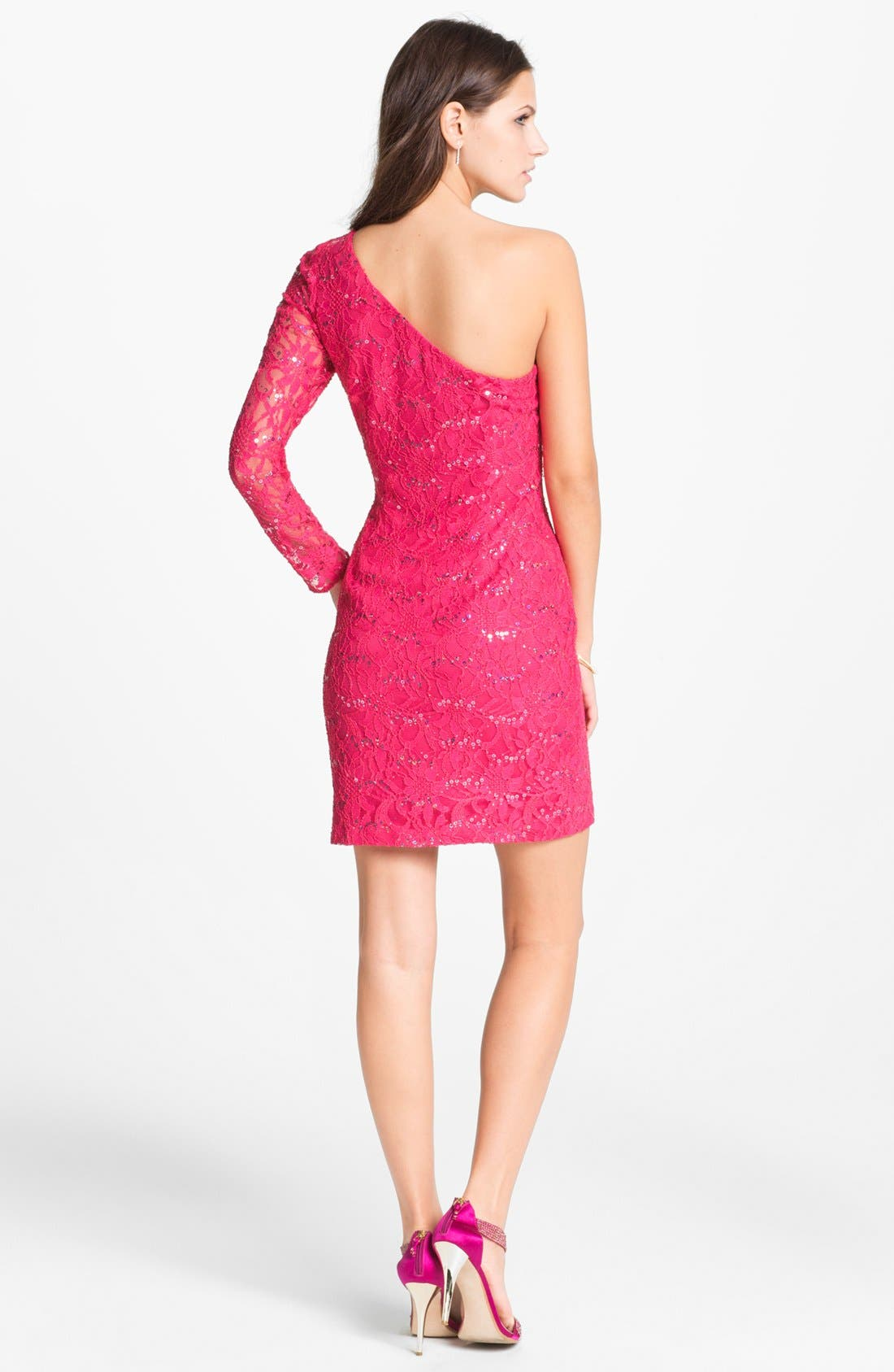 Alternate Image 2  - Hailey by Adrianna Papell One Shoulder Sequin Lace Sheath Dress