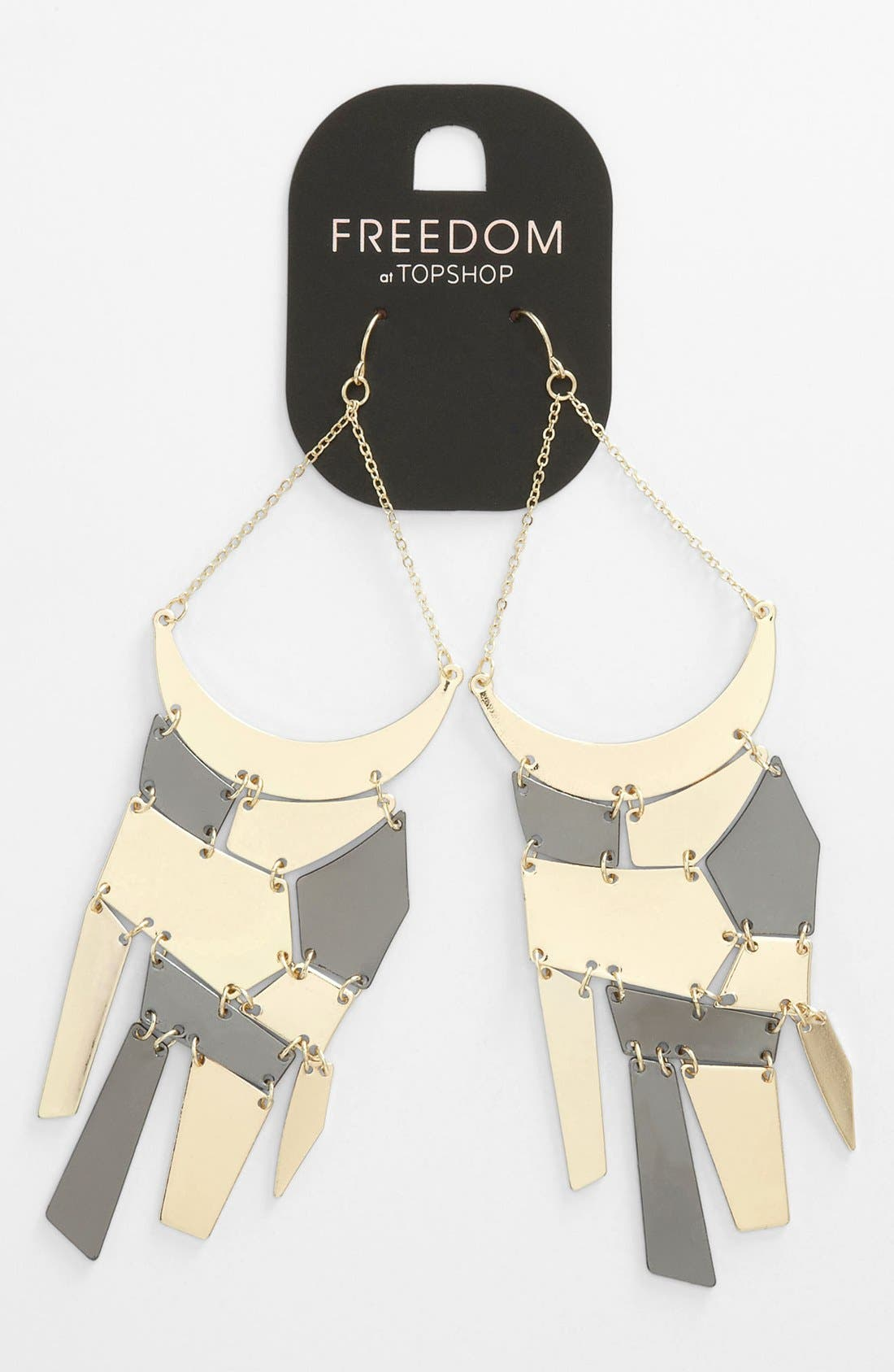 Main Image - Topshop 'Geo Plate' Statement Drop Earrings