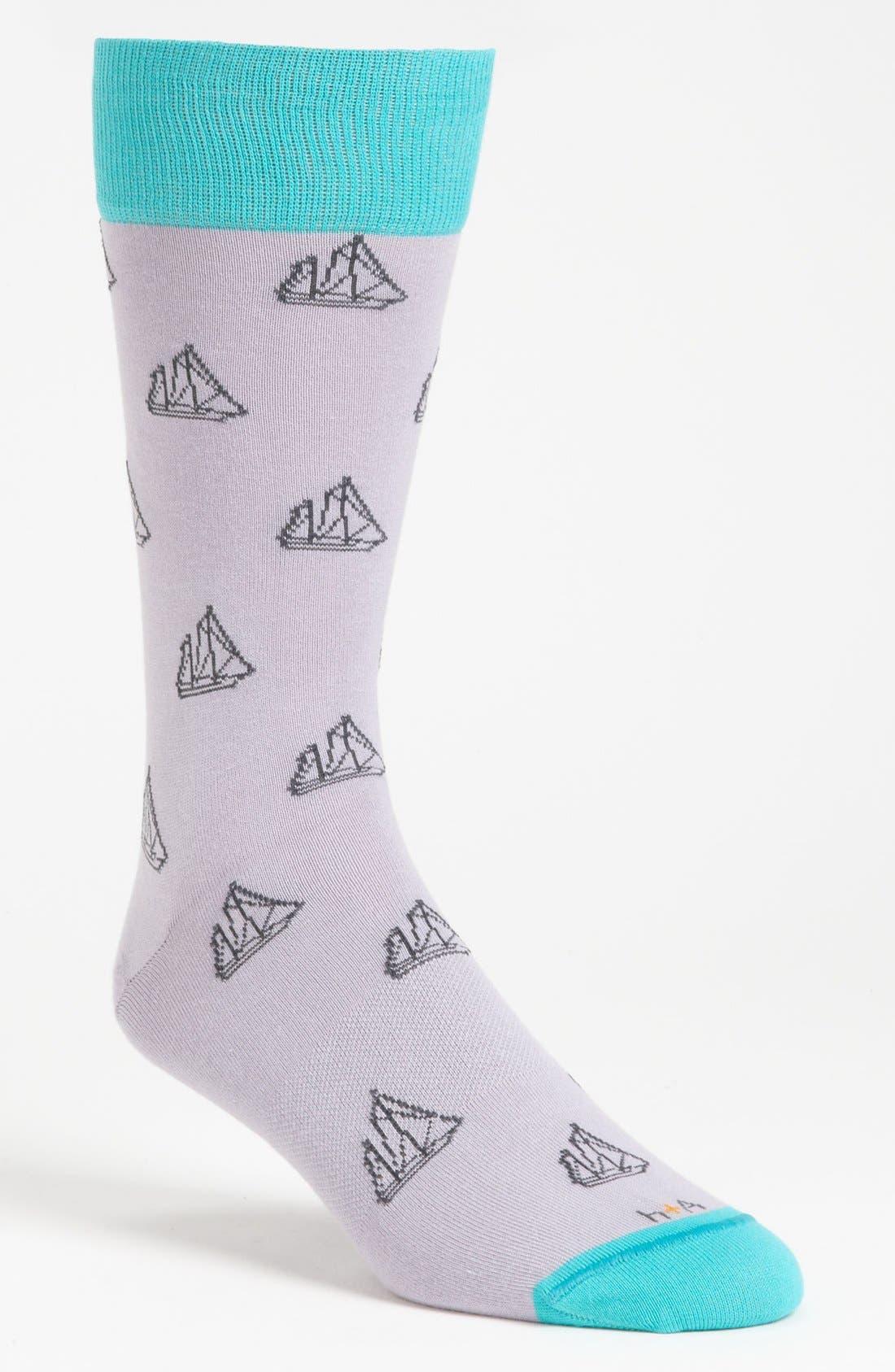 Alternate Image 1 Selected - hook + ALBERT Sailboat Socks
