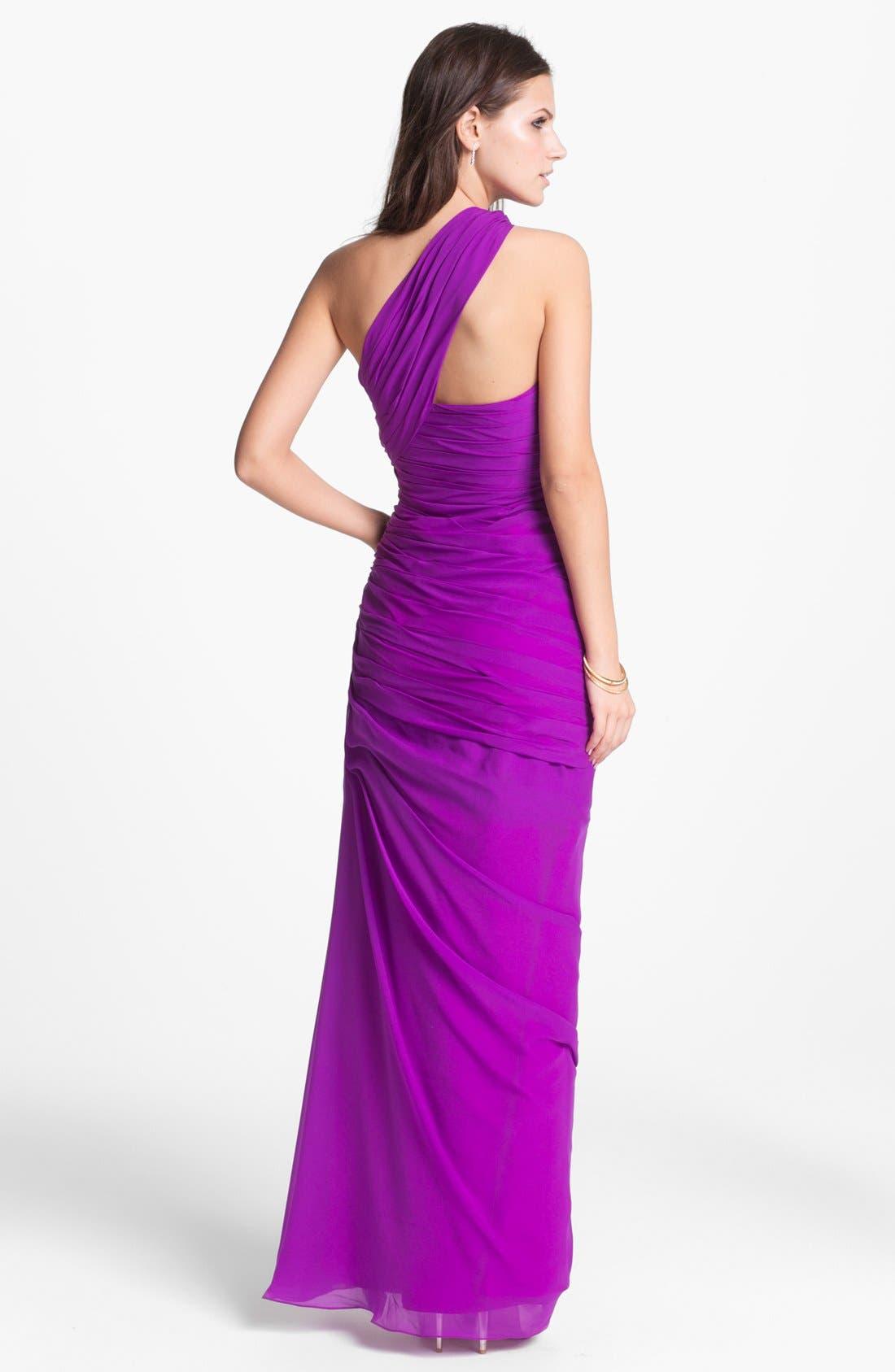 Alternate Image 2  - Dalia MacPhee Ruched One Shoulder Chiffon Gown