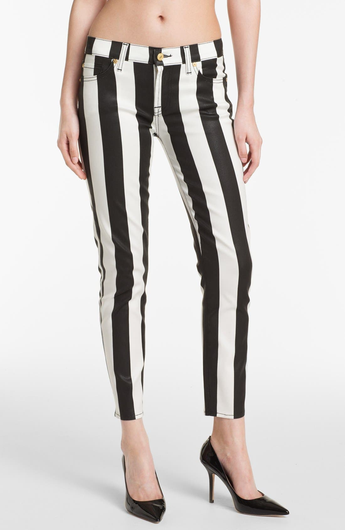 Alternate Image 1 Selected - 7 For All Mankind® 'The Slim Cigarette' Stretch Jeans (Stripe Black)