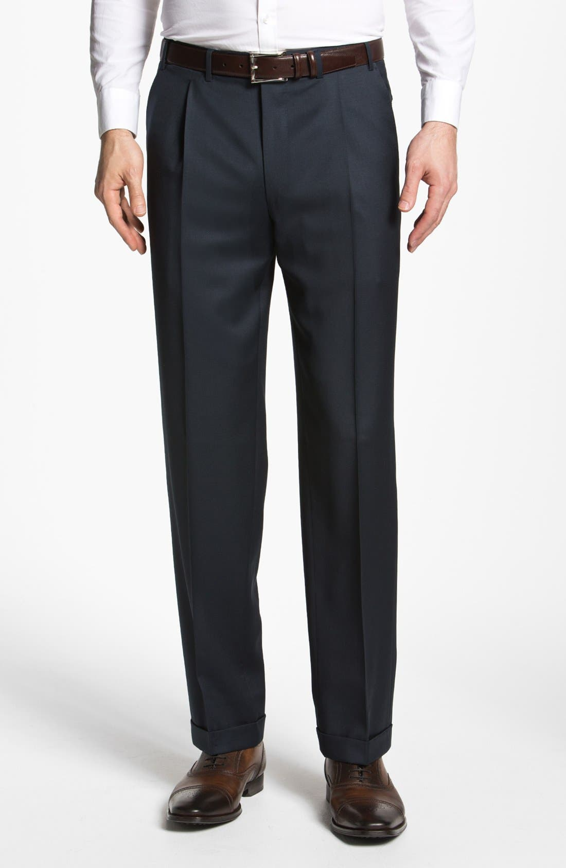 Alternate Image 1 Selected - Canali Pleated Trousers
