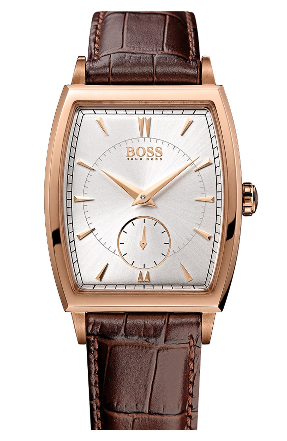 Alternate Image 1 Selected - BOSS Ultraslim Tonneau Watch, 34mm x 34mm