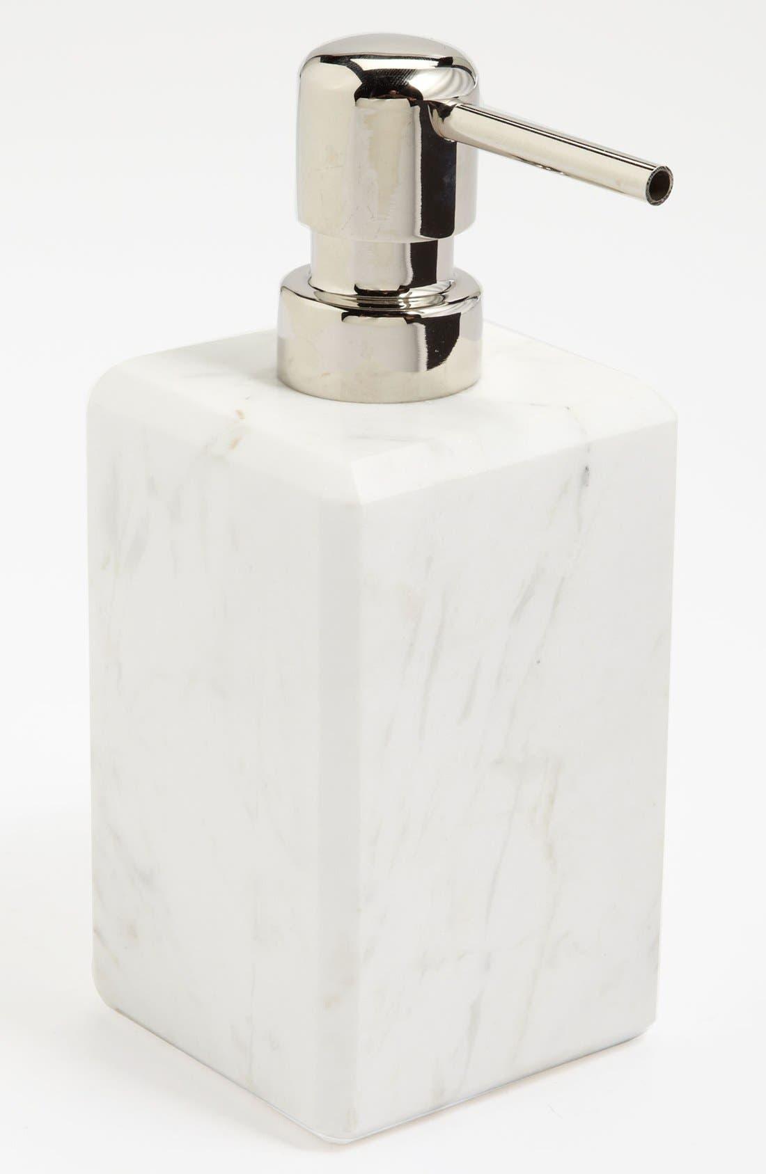 Studio 'Luna' White Marble Soap Dispenser,                             Main thumbnail 1, color,                             White