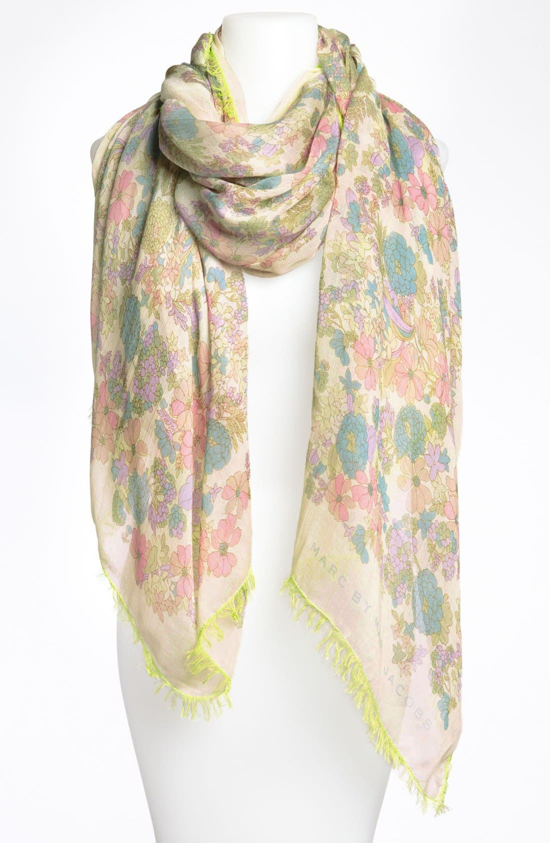 MARC BY MARC JACOBS 'Drew Blossom' Scarf,                             Main thumbnail 1, color,                             Bone White Multi