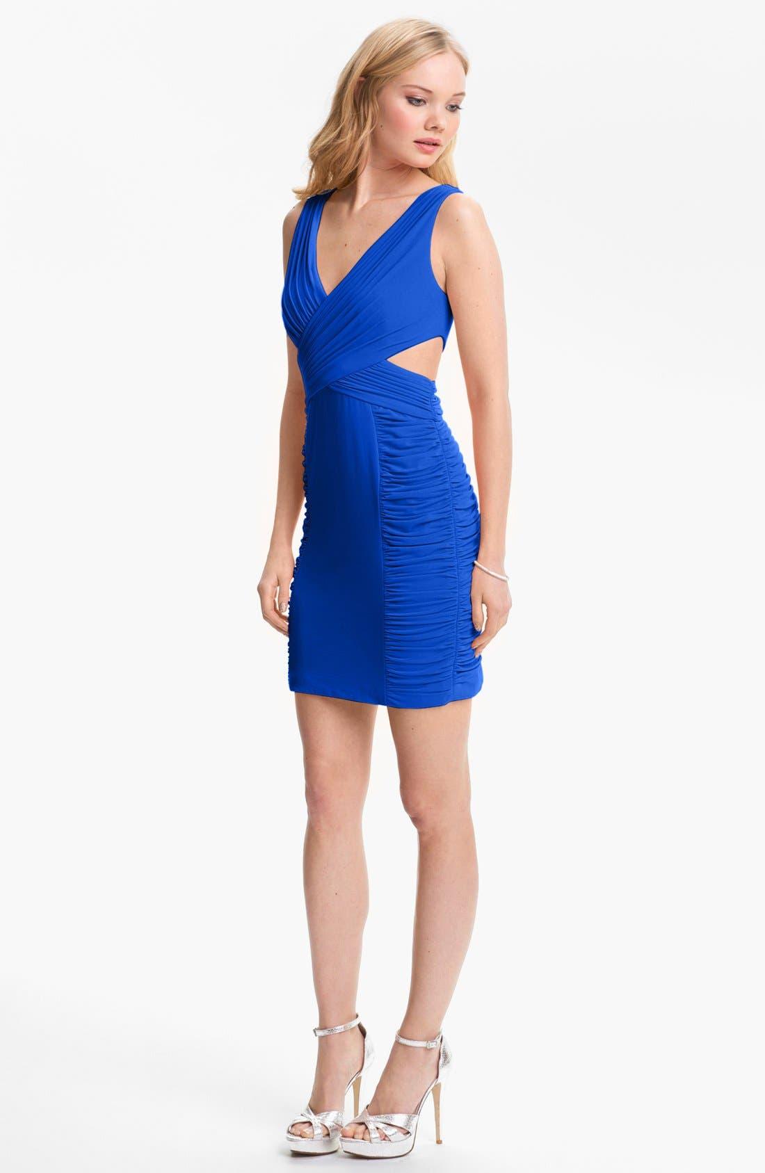 Alternate Image 1 Selected - Hailey Logan Cutout Crisscross Dress (Juniors) (Online Only)