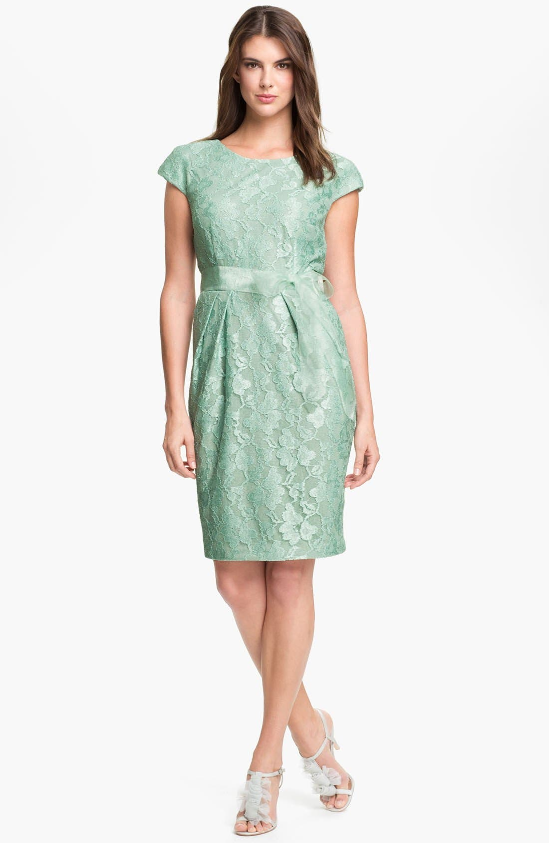 Alternate Image 1 Selected - Alex Evenings Cap Sleeve Lace Sheath Dress