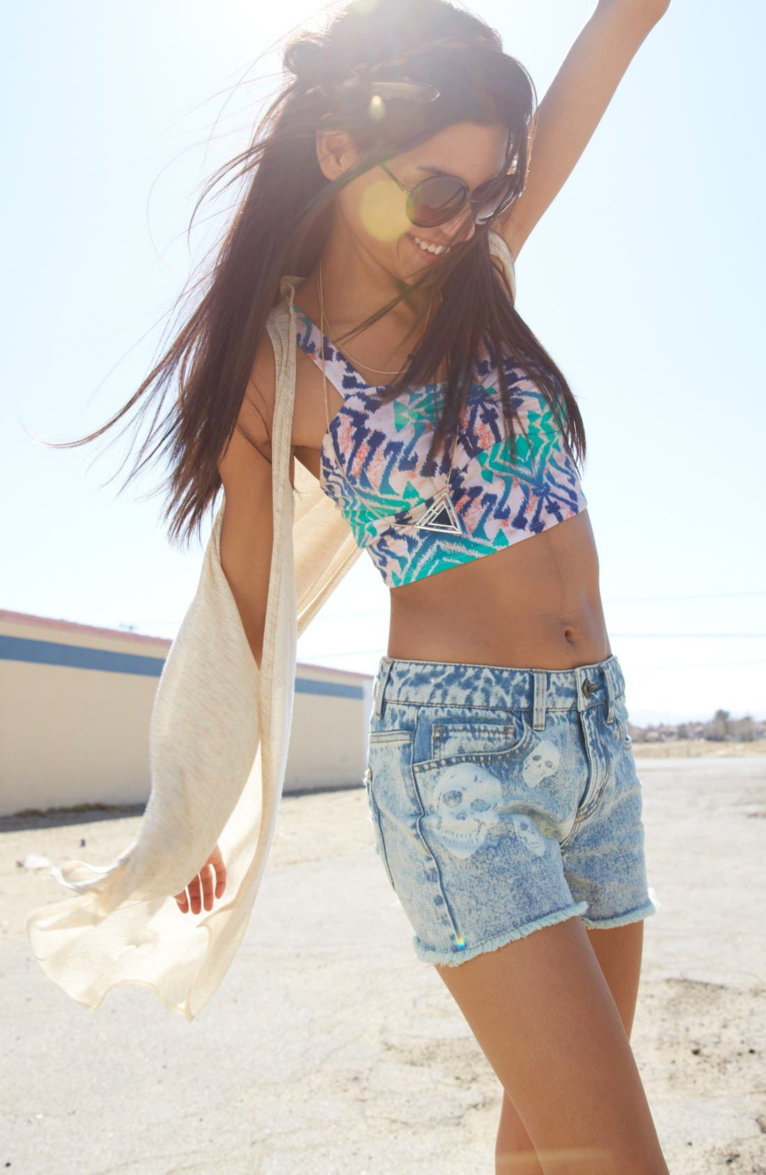 Alternate Image 4  - Fire Bleached Skull High Waist Denim Cutoffs (Juniors)