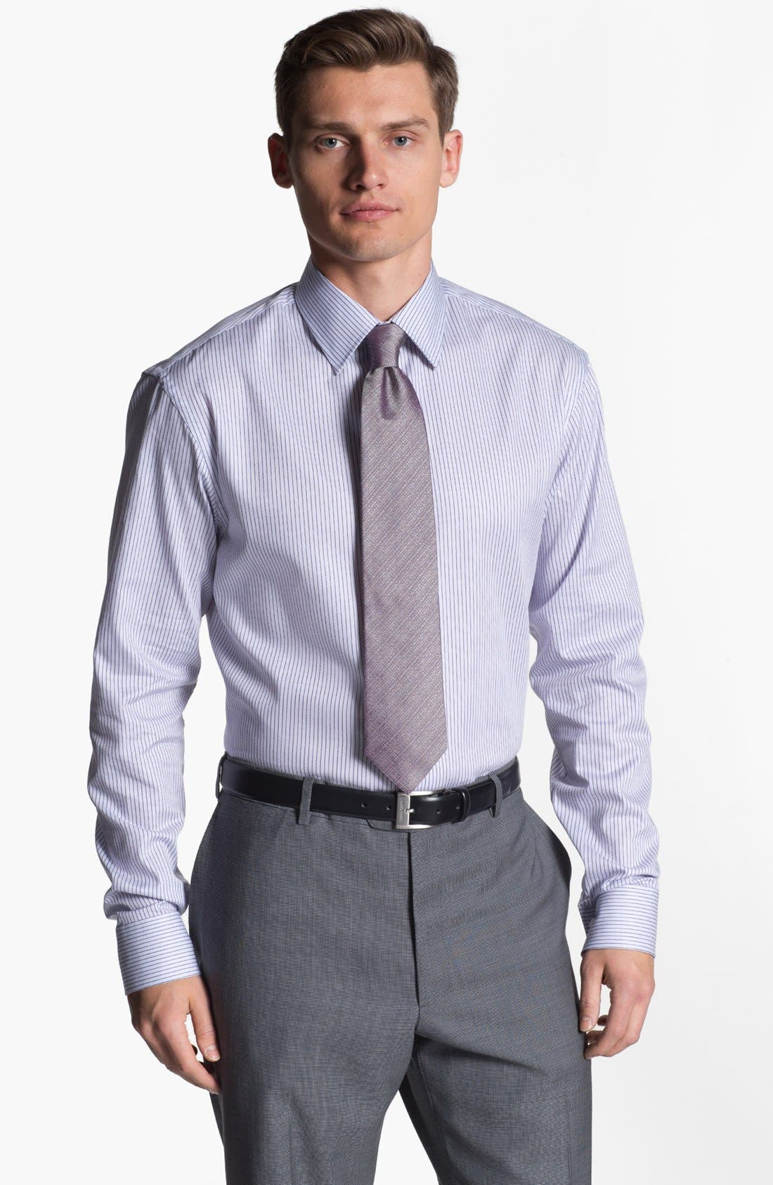 Alternate Image 1 Selected - Armani Collezioni Trim Fit Stripe Cotton Dress Shirt