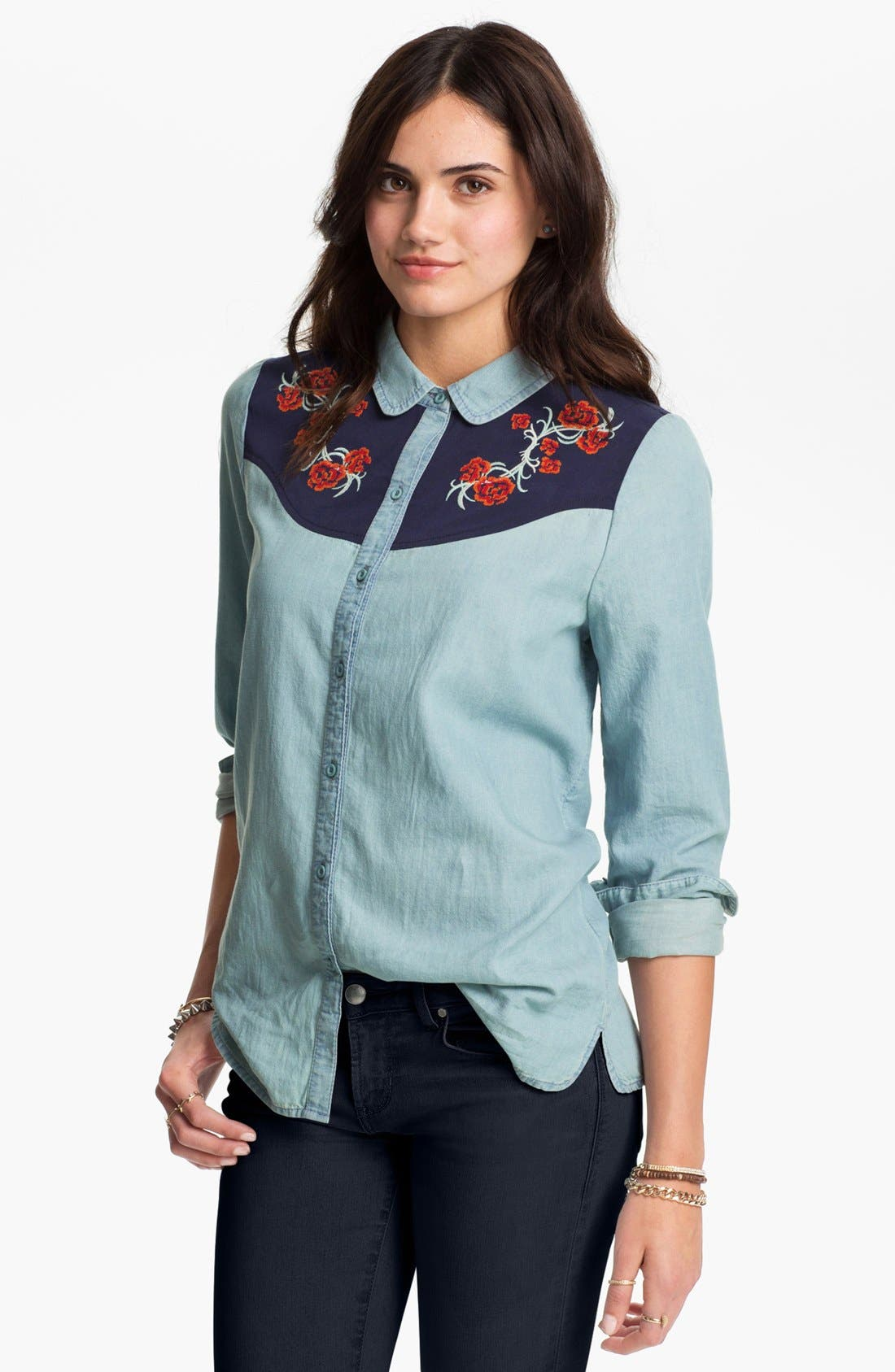 Alternate Image 1 Selected - Rubbish Embroidered Western Shirt (Juniors)