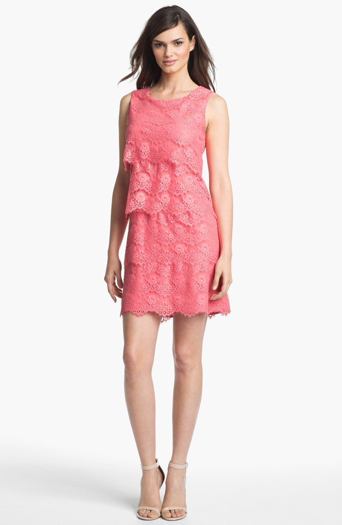 Main Image - Jessica Simpson Tiered Lace Shift Dress