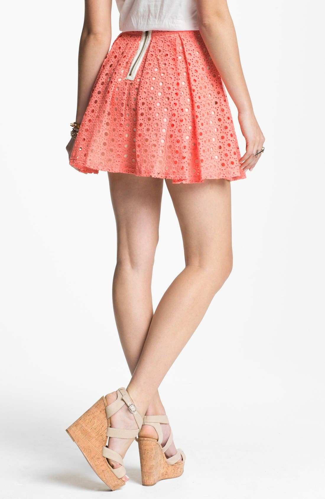Alternate Image 2  - Lush Eyelet Skater Skirt (Juniors)(Online Exclusive)