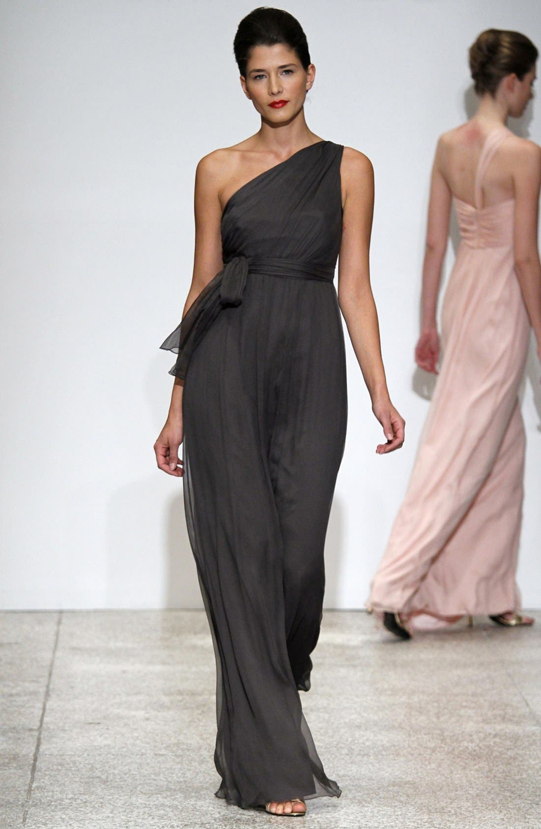 Alternate Image 2  - Amsale One Shoulder Chiffon Gown