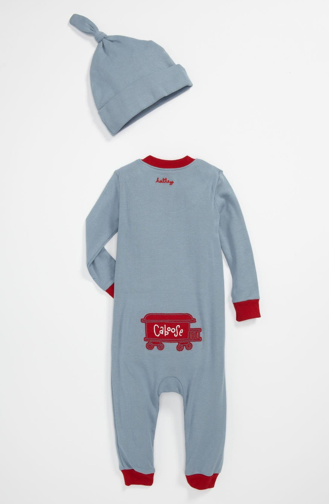 Alternate Image 2  - Hatley Fitted Romper Pajamas & Hat (Baby)