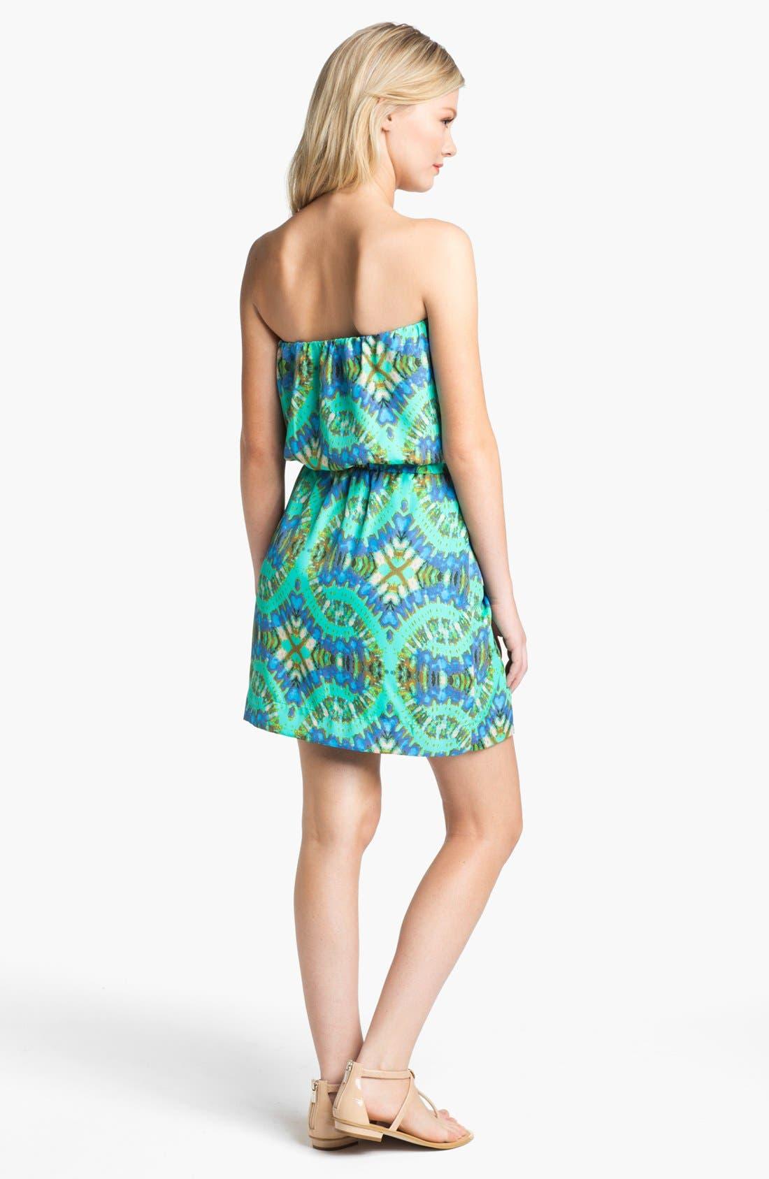 Alternate Image 2  - Collective Concepts Strapless Print Blouson Dress