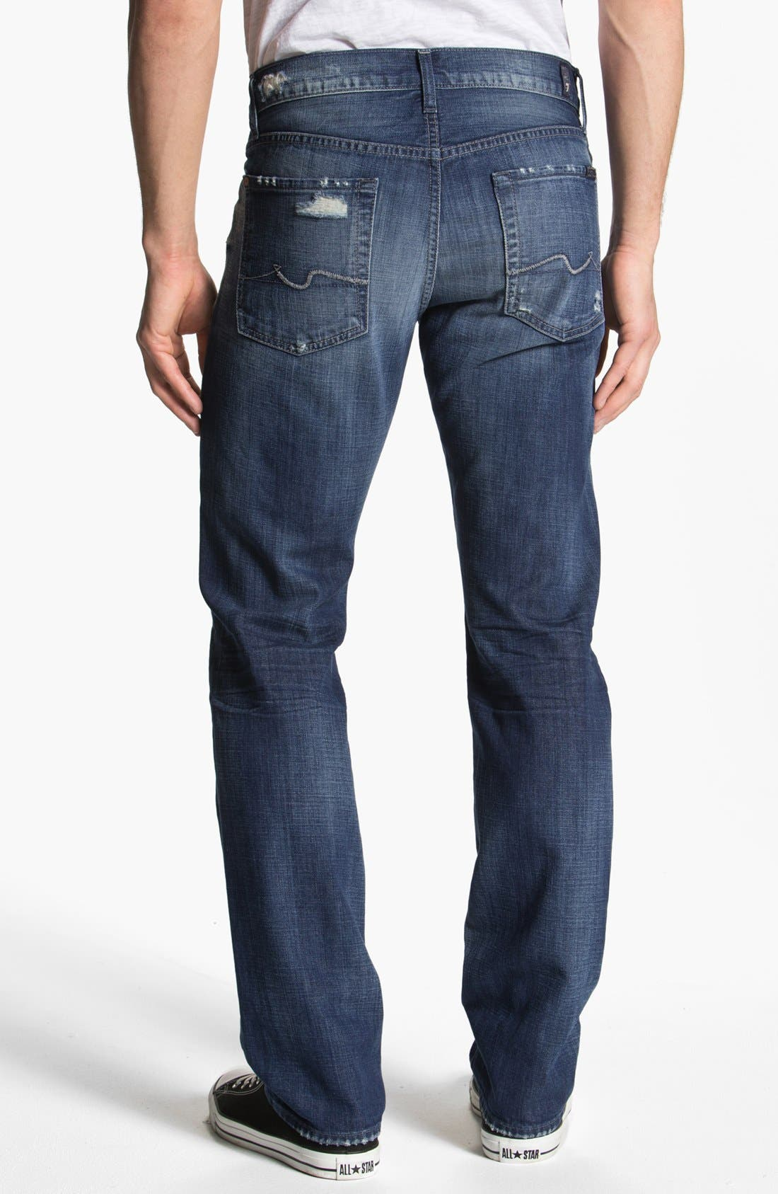 Alternate Image 1 Selected - 7 For All Mankind® 'Slimmy' Slim Straight Leg Jeans (Mosby Creek Destroyed)