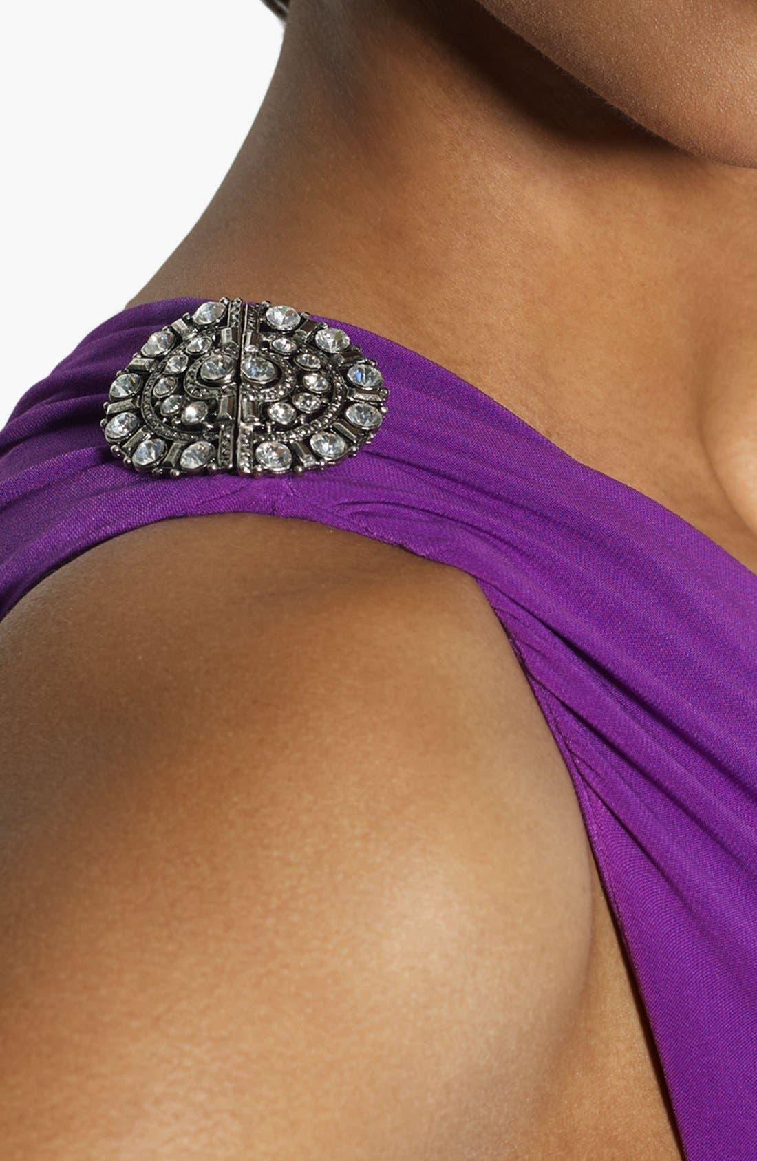 Alternate Image 2  - Lauren Ralph Lauren Embellished One Shoulder Matte Jersey Gown