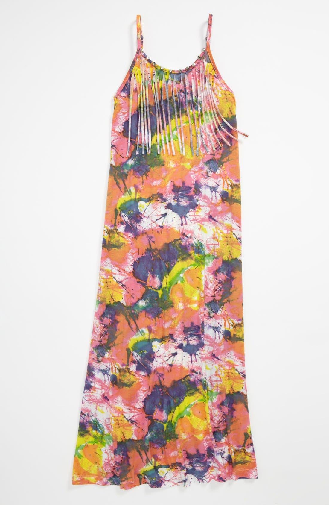 Alternate Image 1 Selected - Flowers by Zoe 'Splatter' Fringe Dress (Little Girls)