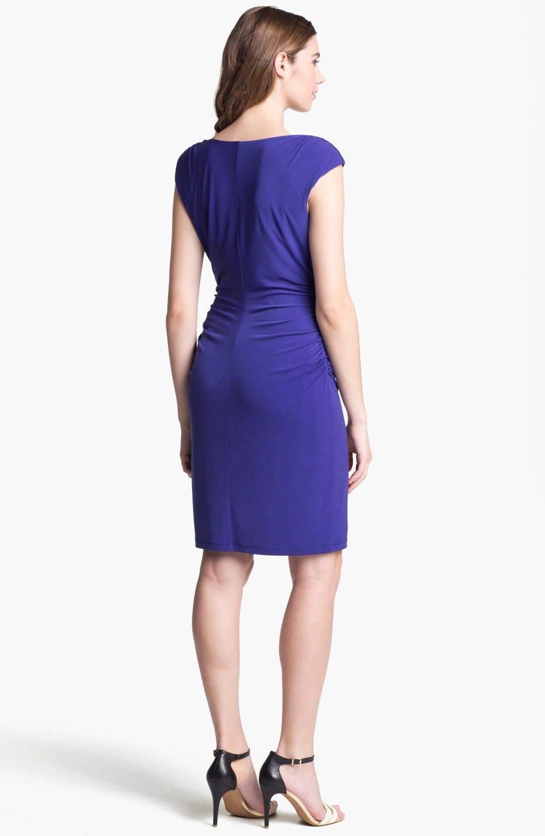 Alternate Image 2  - Ivy & Blu Ruched Cap Sleeve Jersey Dress