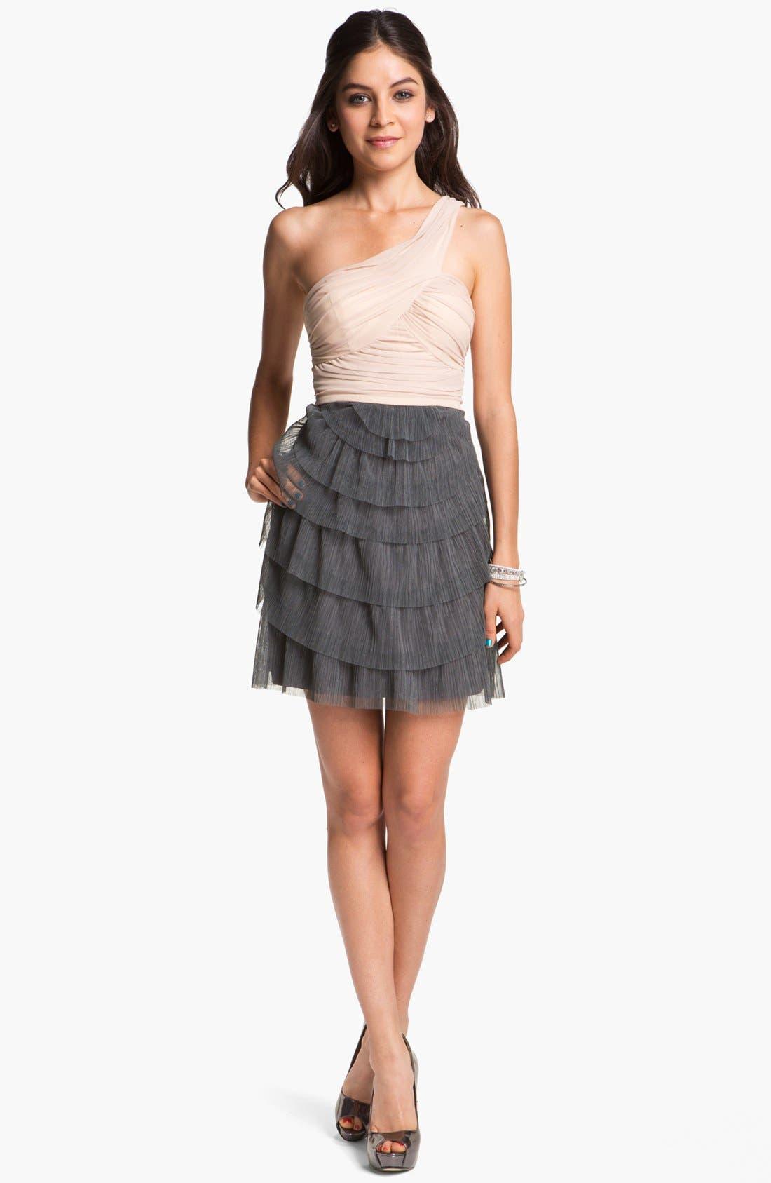 Main Image - Way-In One Shoulder Chiffon Dress (Juniors)