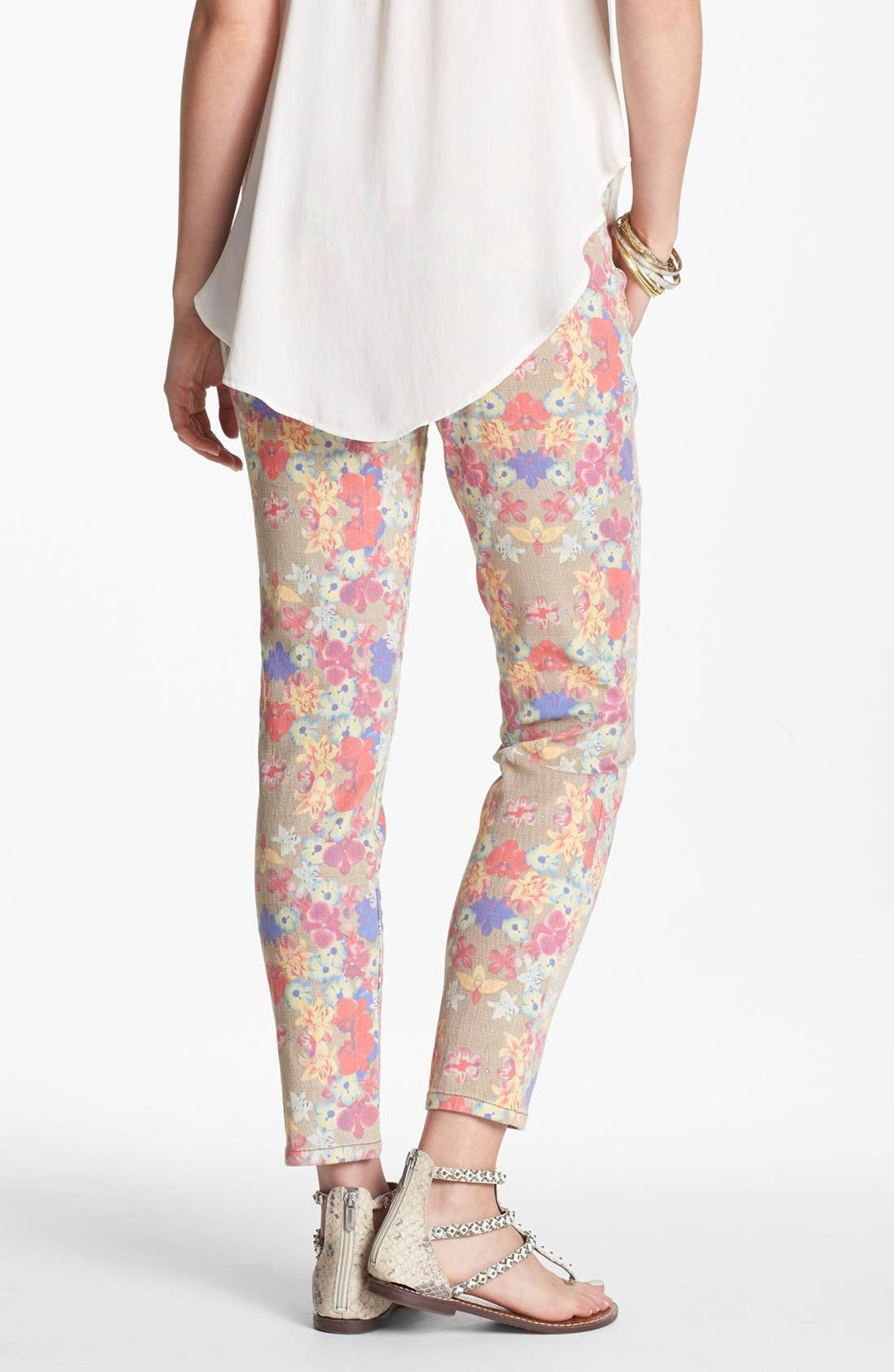 Alternate Image 2  - Jolt Print Denim Skinny Jeans (Juniors)