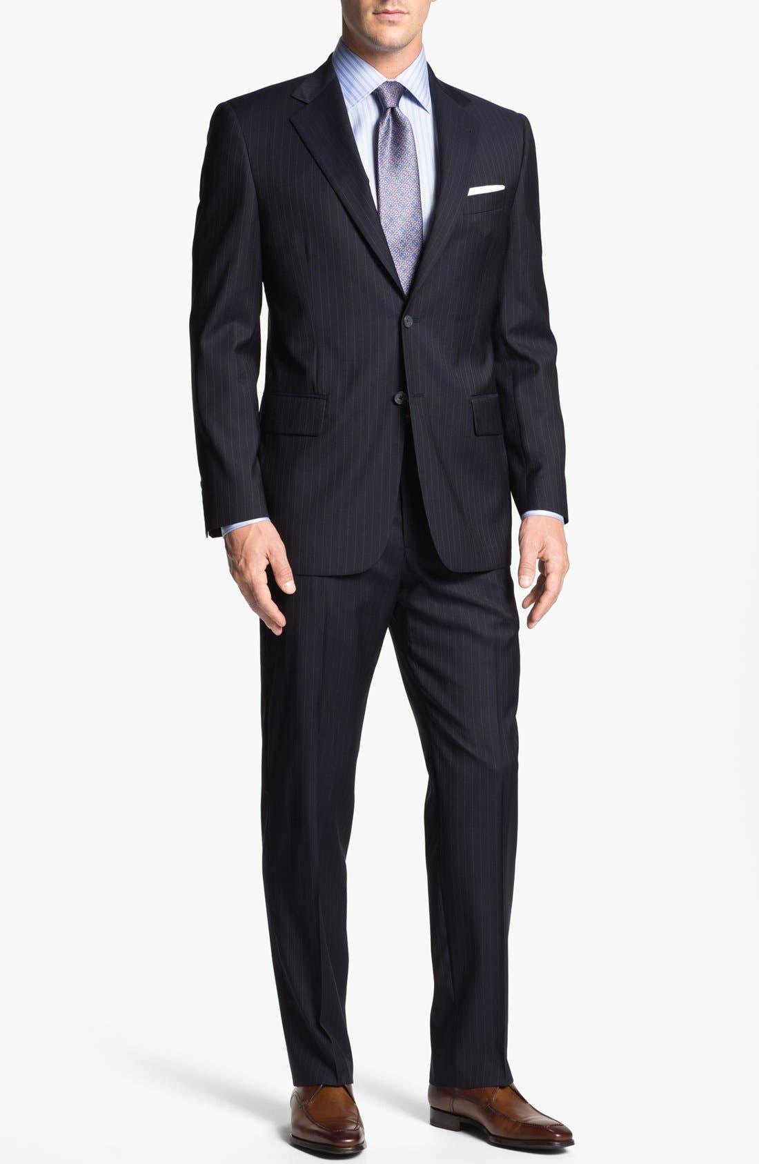 Main Image - Joseph Abboud 'Signature Silver' Stripe Wool Suit