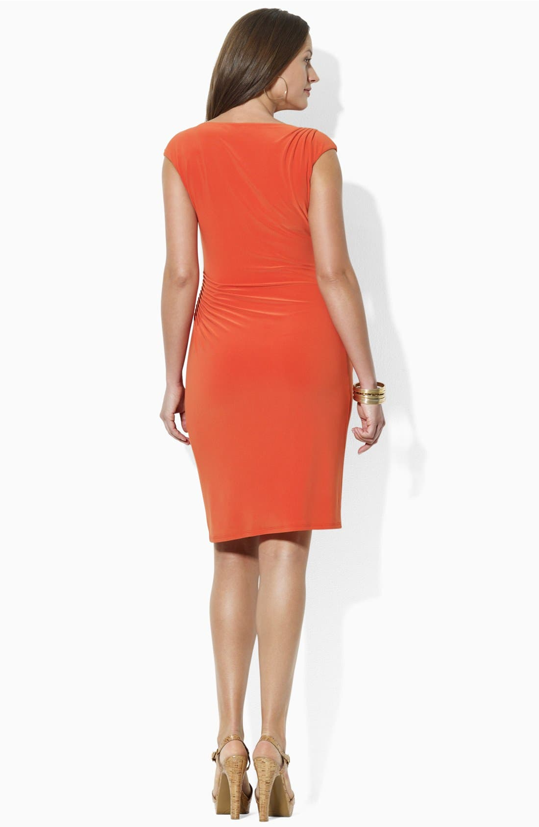 Alternate Image 3  - Lauren Ralph Lauren Pintucked Jersey Sheath Dress (Plus Size)