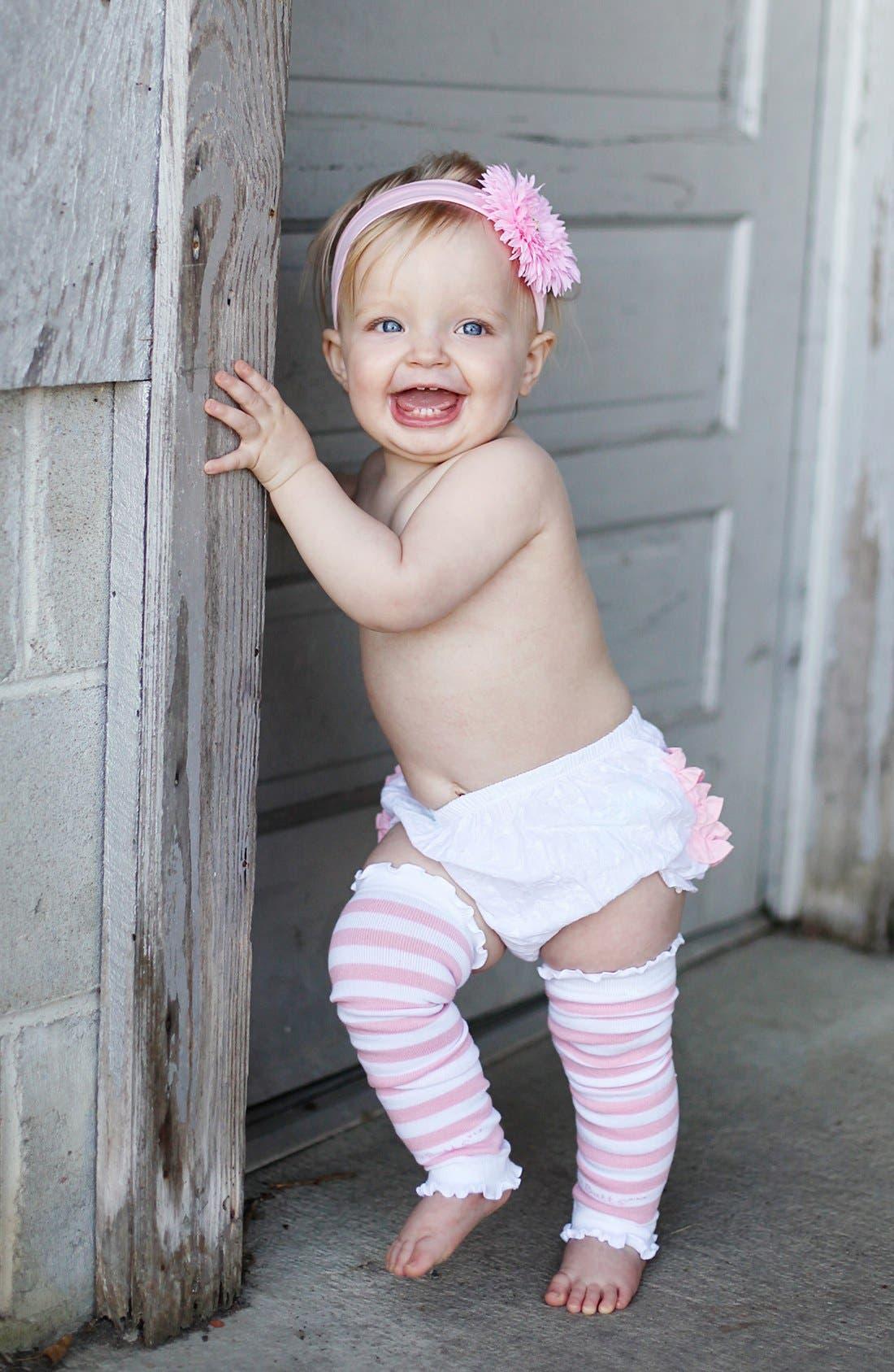 Alternate Image 3  - RuffleButts 'Pink & White' Headband, Bloomers & Leg Warmers (Baby)