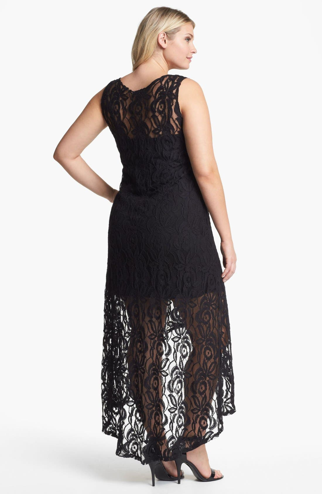 Alternate Image 2  - Loveappella Lace High/Low Maxi Dress (Plus Size)